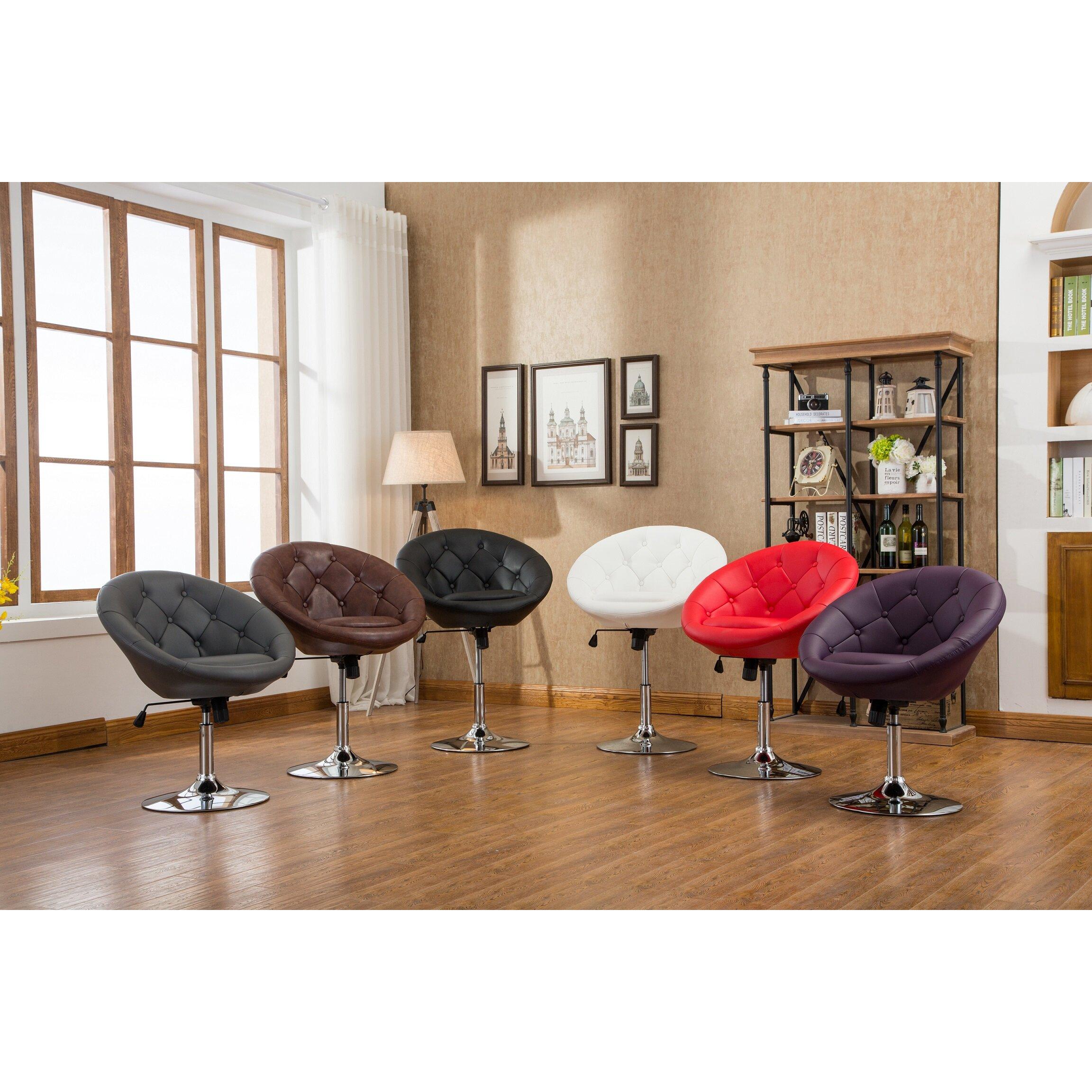 Roundhill Furniture Noas Contemporary Tufted Back Tilt Swivel Barrel Chair Reviews