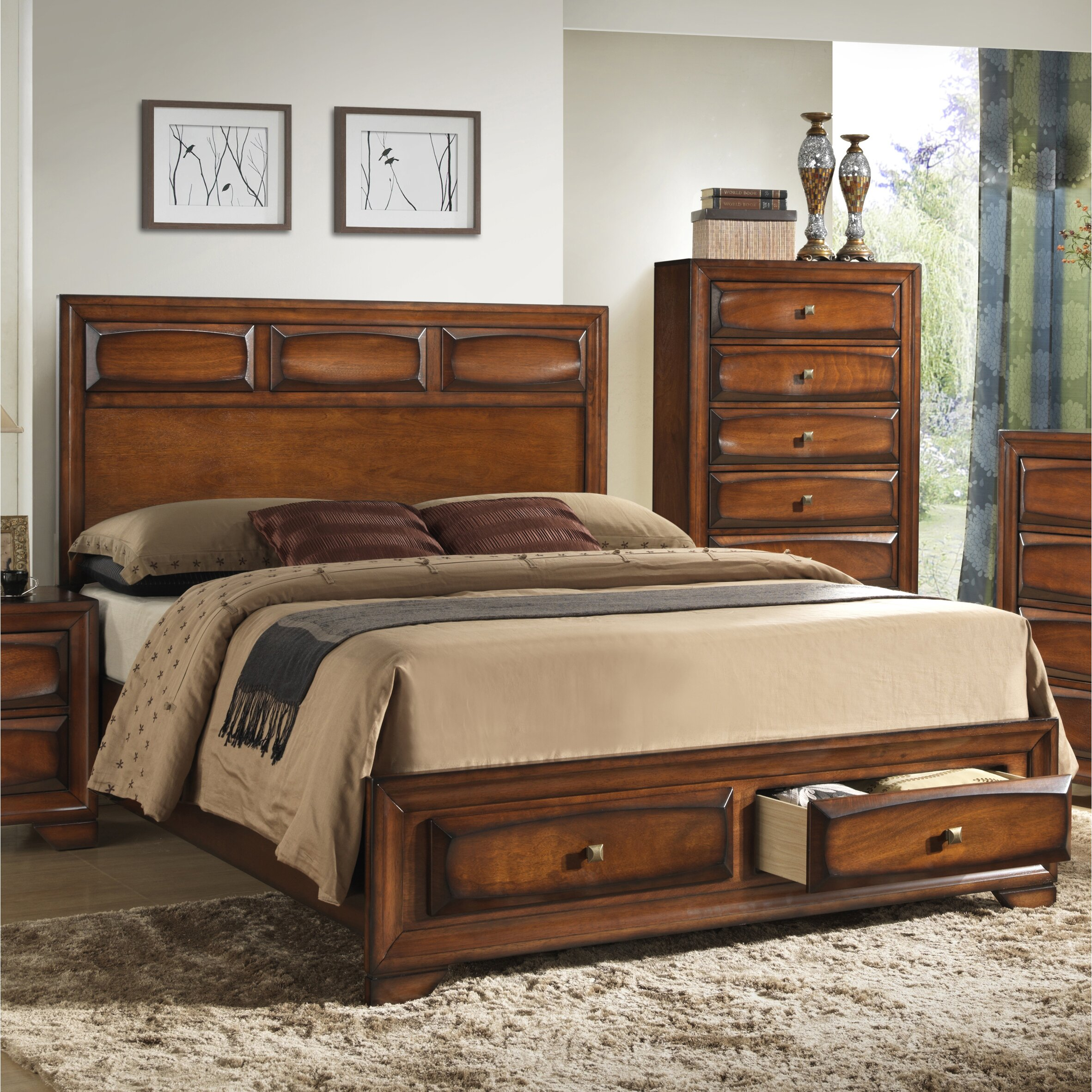 Storage Bedroom Furniture: Roundhill Furniture Oakland Storage Platform Bed