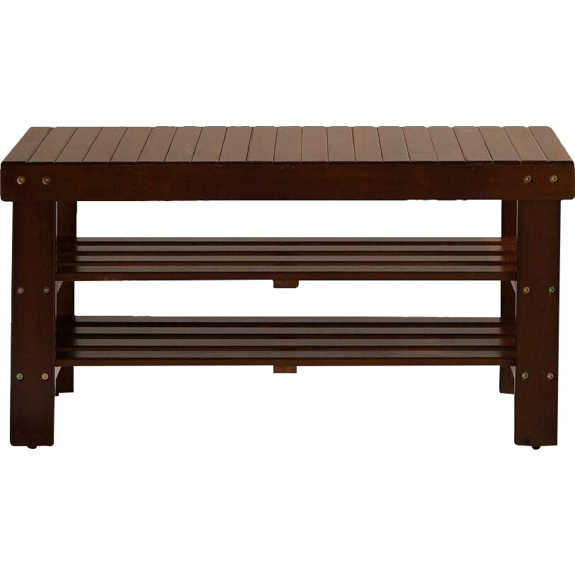 Roundhill Furniture Solid Wood Entryway Bench & Reviews