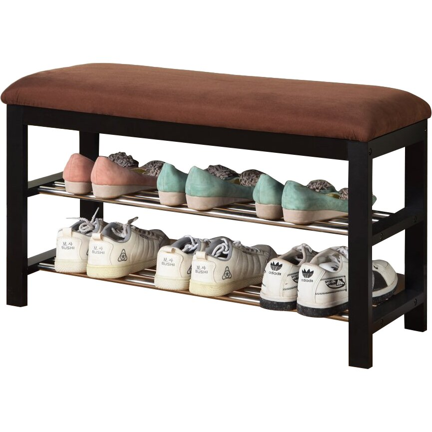 Roundhill Furniture Wood Shoe Bench & Reviews
