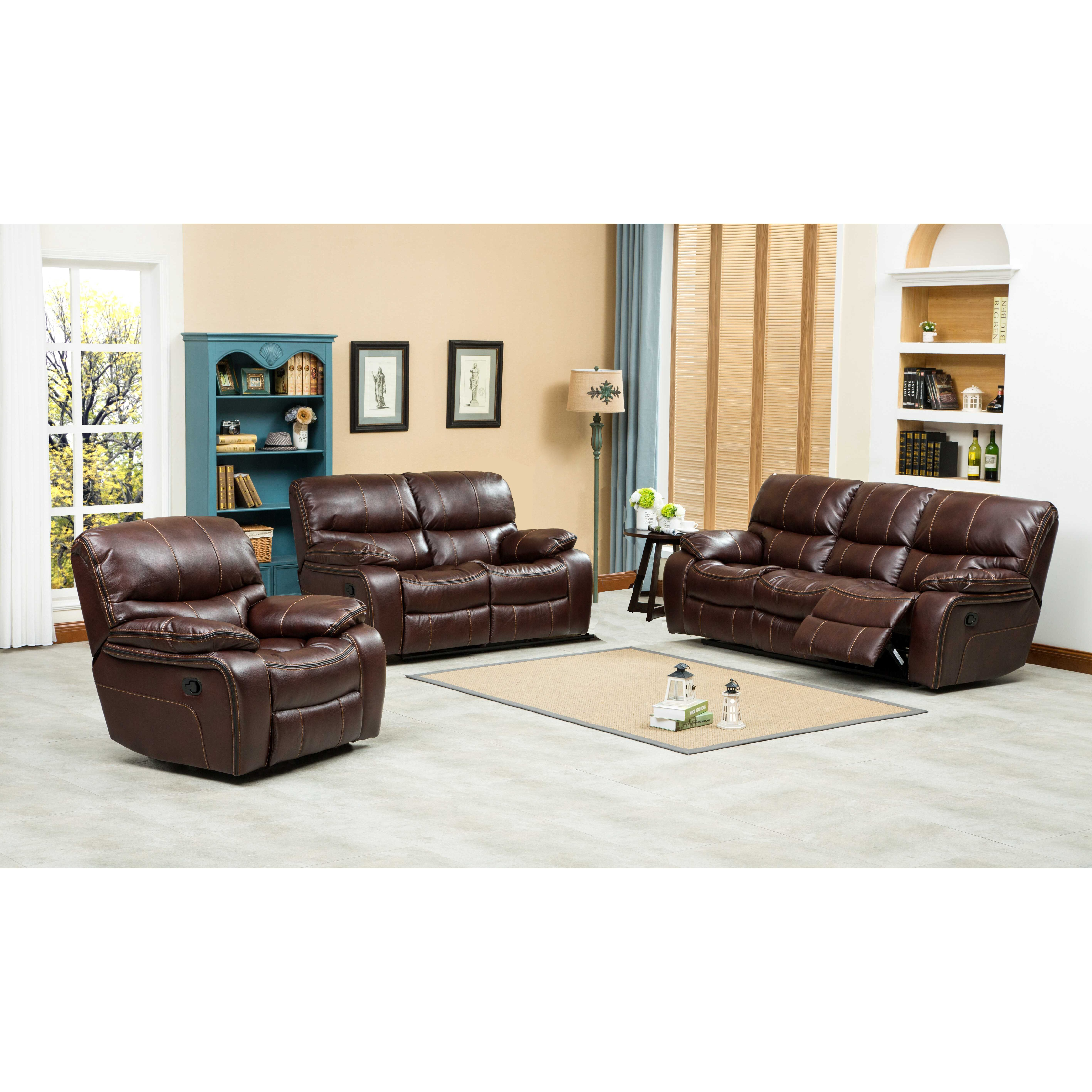 Roundhill furniture ewa 3 piece reclining leather living for Leather living room sets