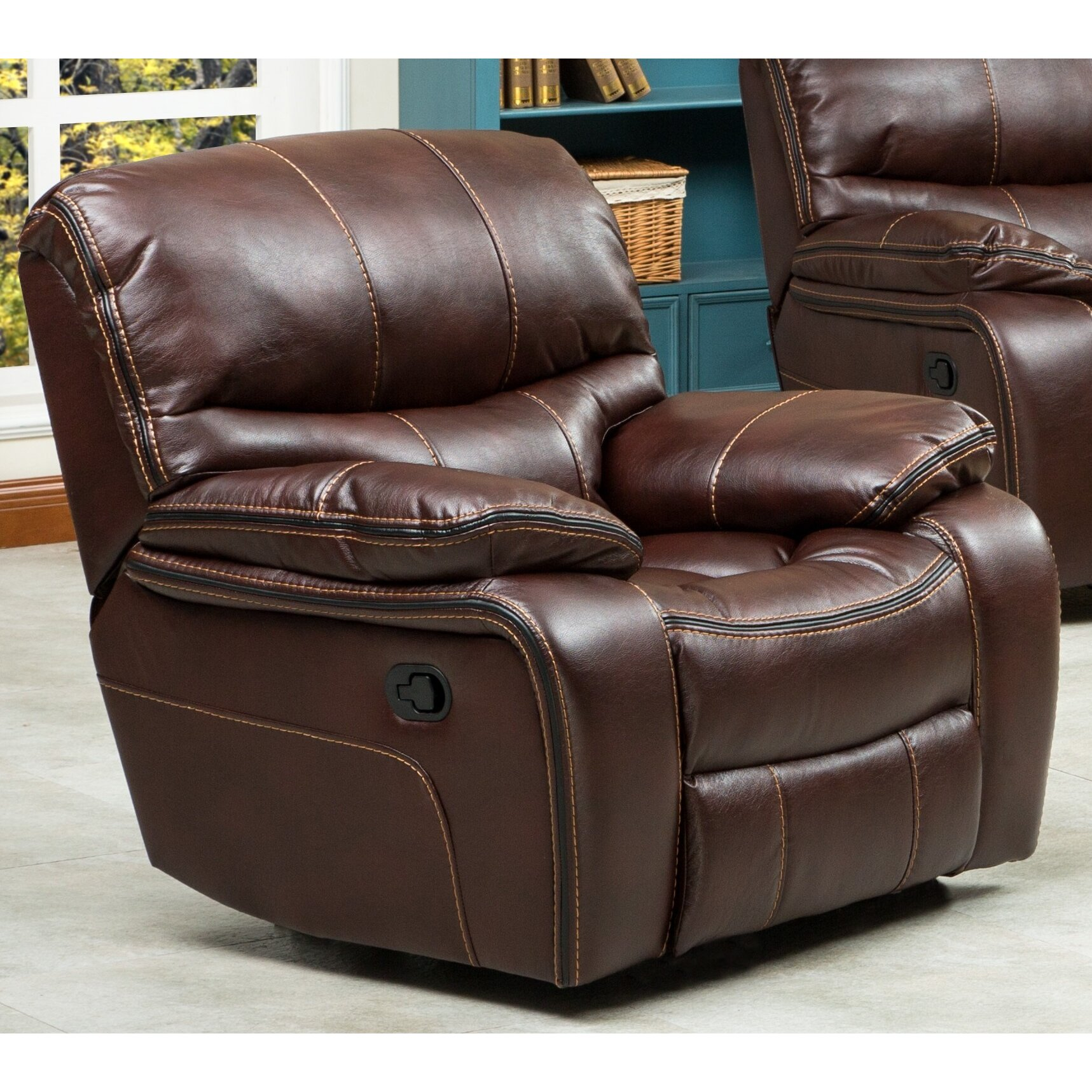 Roundhill furniture ewa 3 piece reclining leather living room set wayfair Leather sofa and loveseat recliner