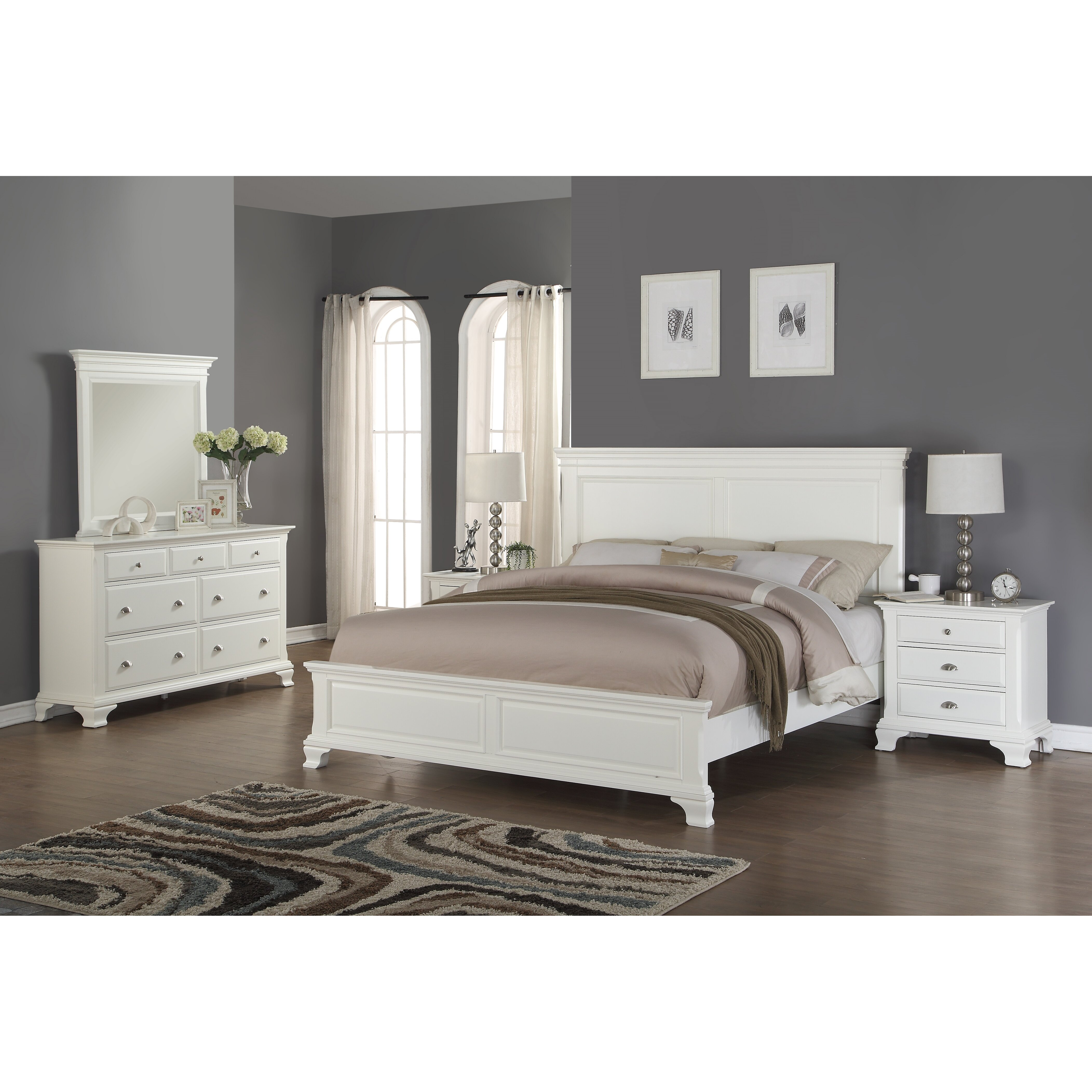 Roundhill furniture laveno panel 5 piece bedroom set for 5 piece bedroom set