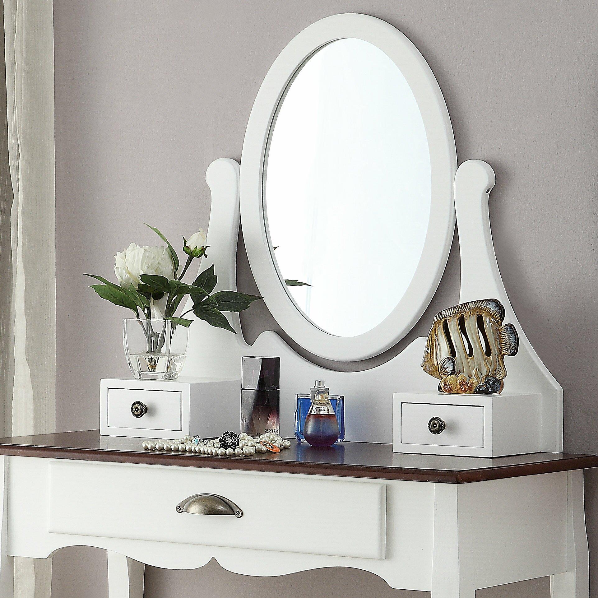 Roundhill furniture interhyp wooden vanity set with mirror