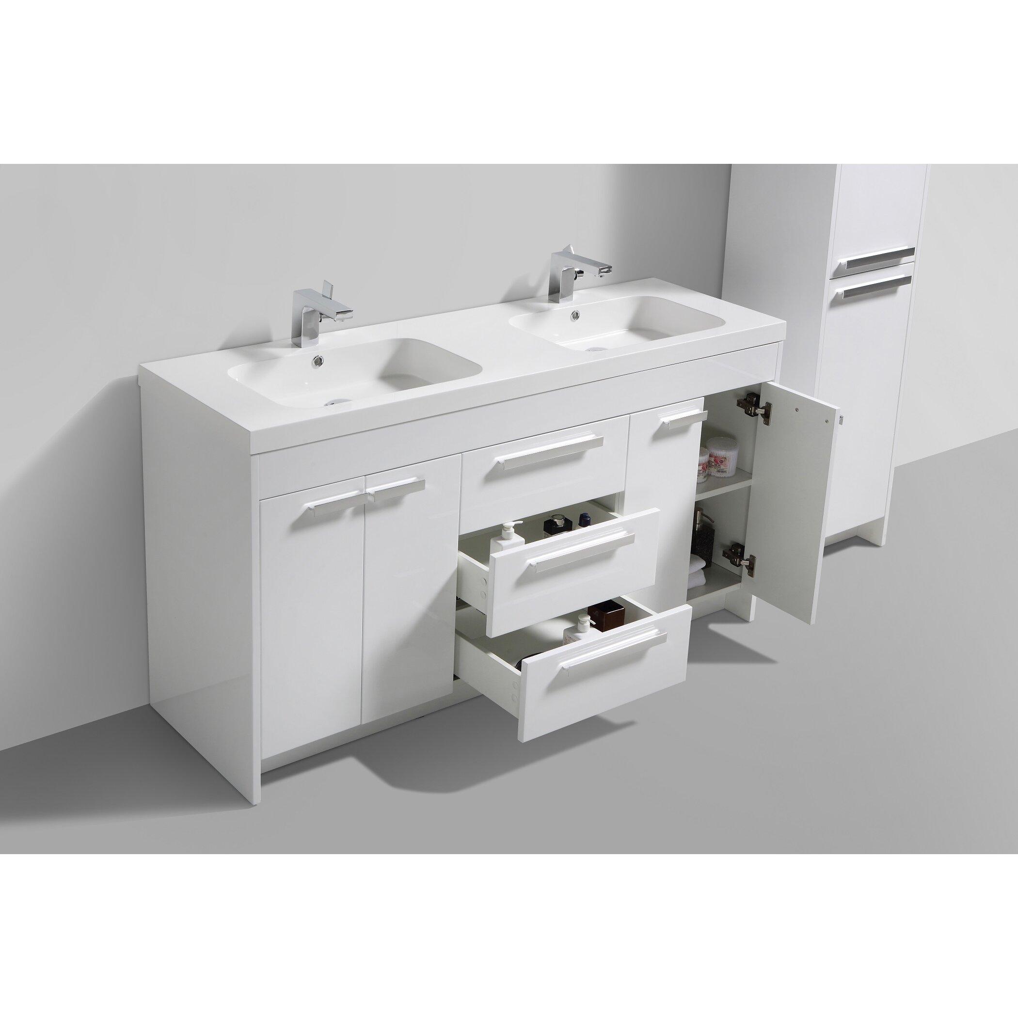 Eviva lugano 60 double modern bathroom vanity set wayfair - Linden modern bathroom vanity set ...