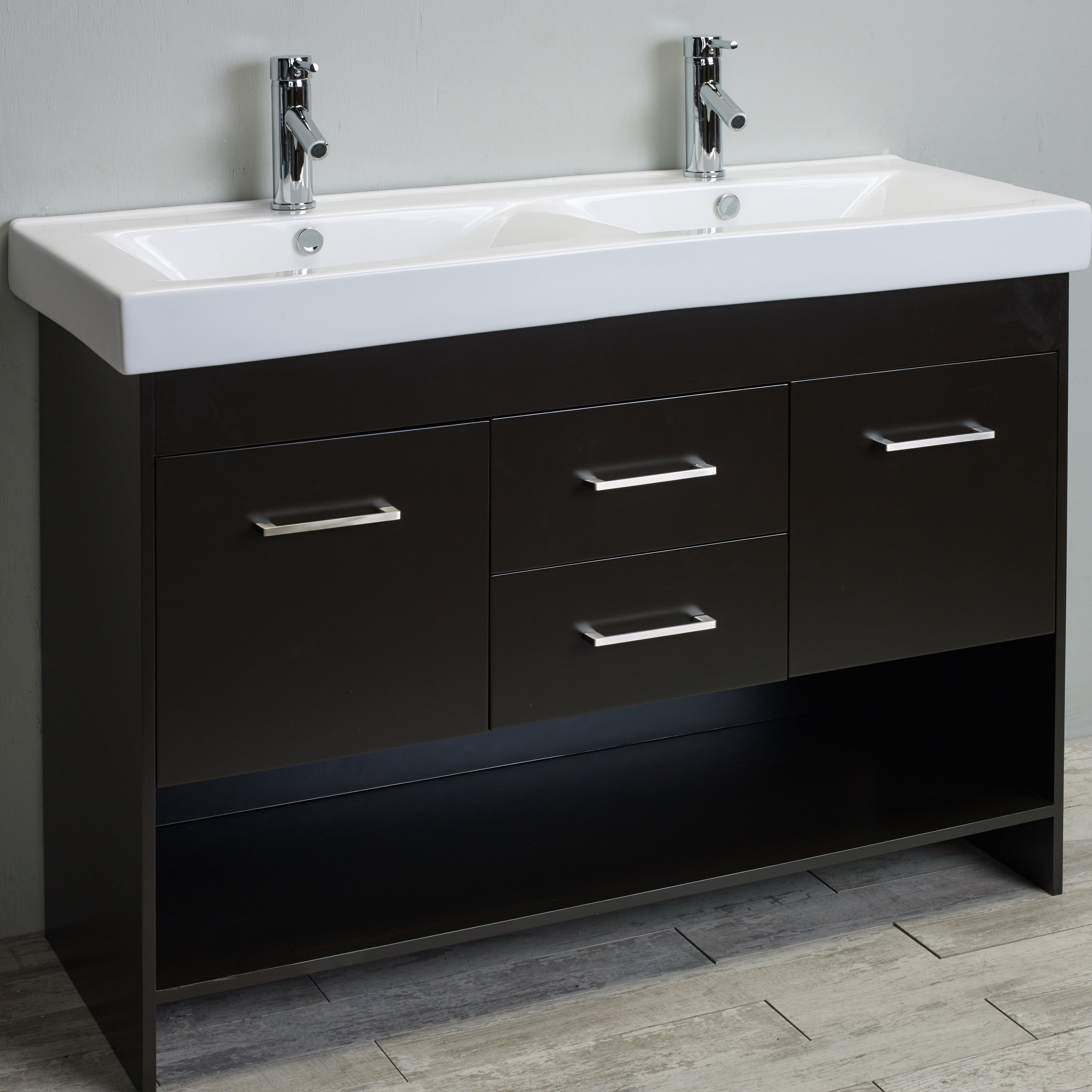 eviva gloria 48 espresso double bathroom vanity set with white integrated double porcelain sink. Black Bedroom Furniture Sets. Home Design Ideas