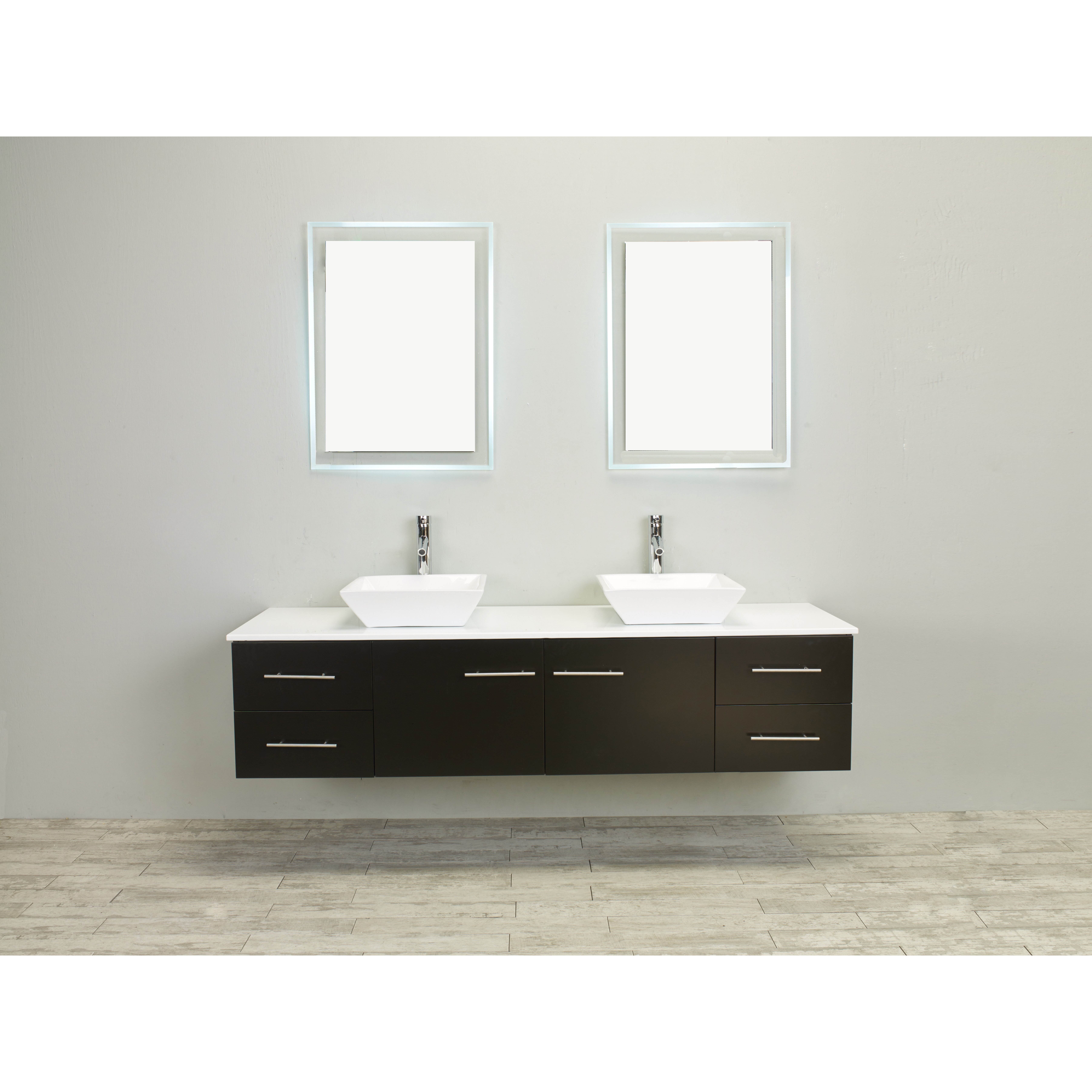 Eviva totti wave 72 double sink espresso modern bathroom - Modern double sink bathroom vanities ...