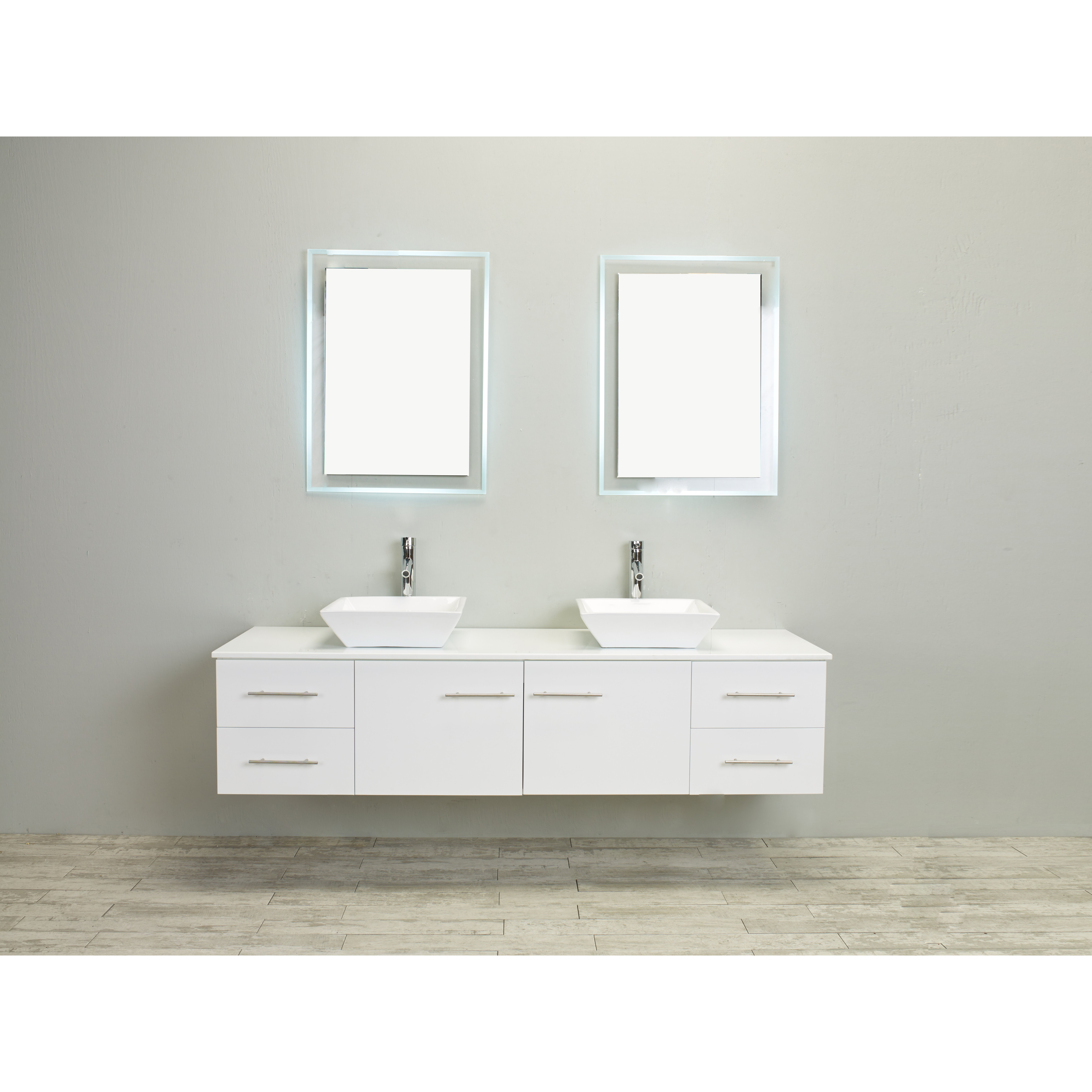 Eviva Totti Wave 60 Inch White Modern Double Sink Bathroom