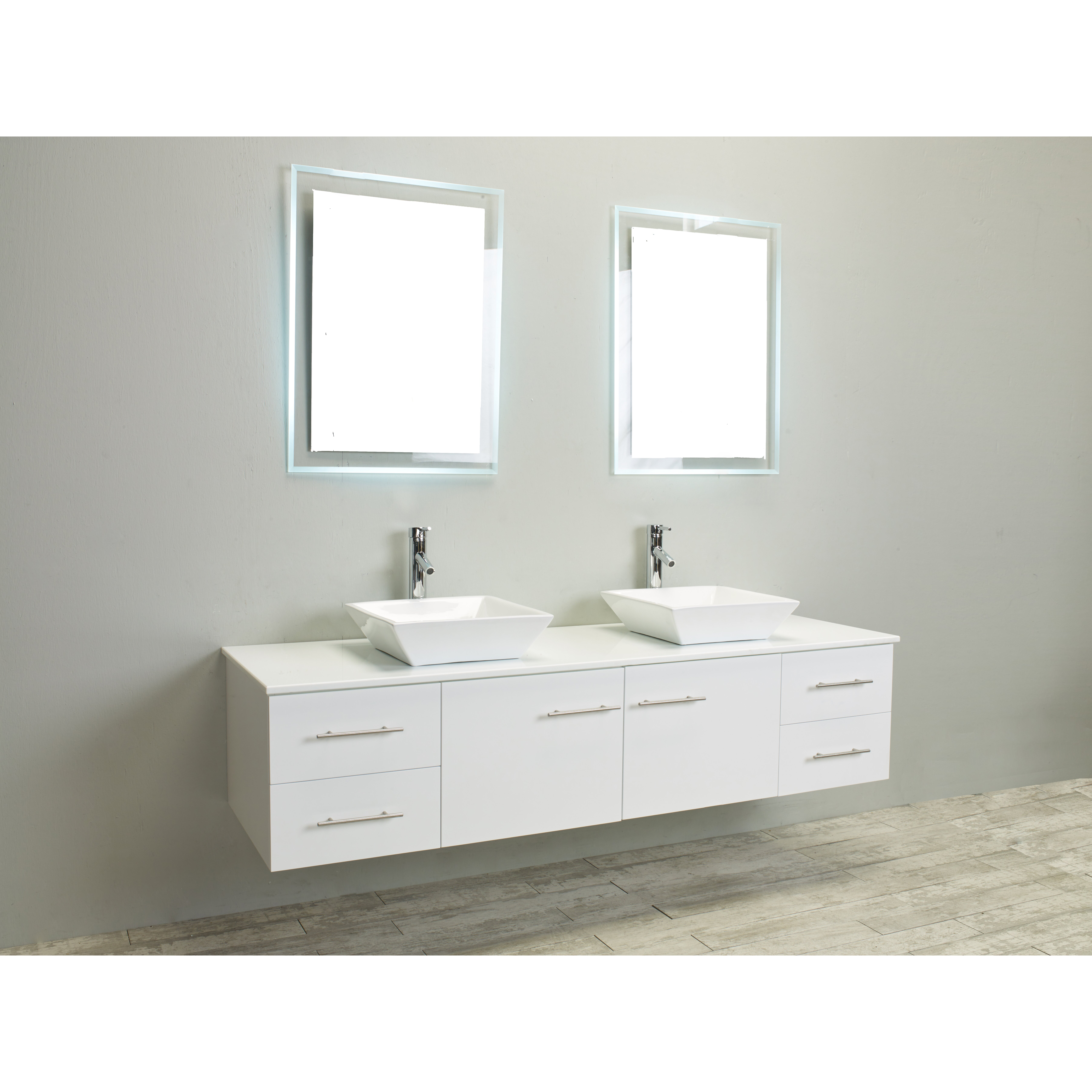 Eviva totti wave 60 inch white modern double sink bathroom for Bathroom sinks and vanities