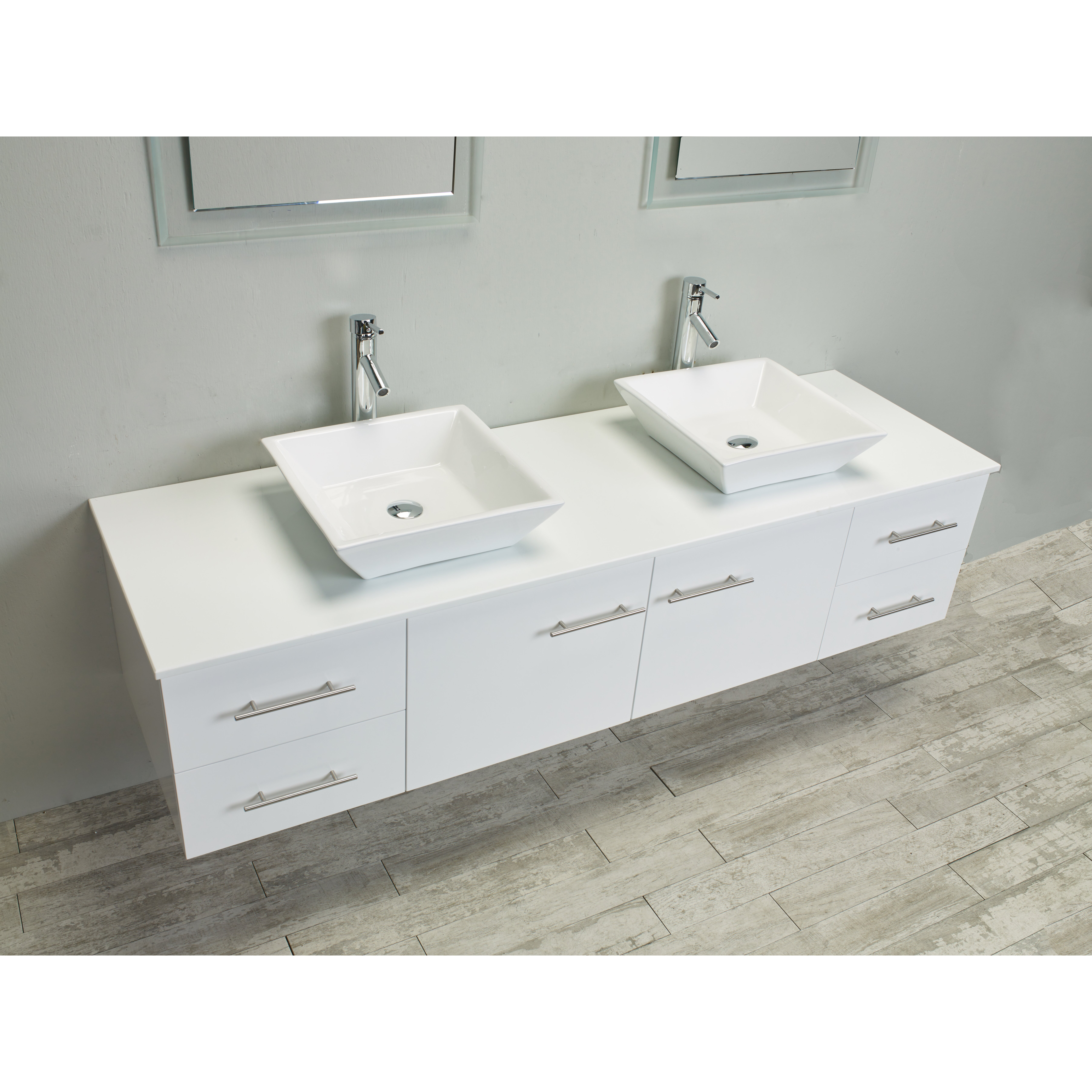Twin Bathroom Sinks : ... Double Sink Bathroom Vanity with Counter-Top and Double Sinks by Eviva