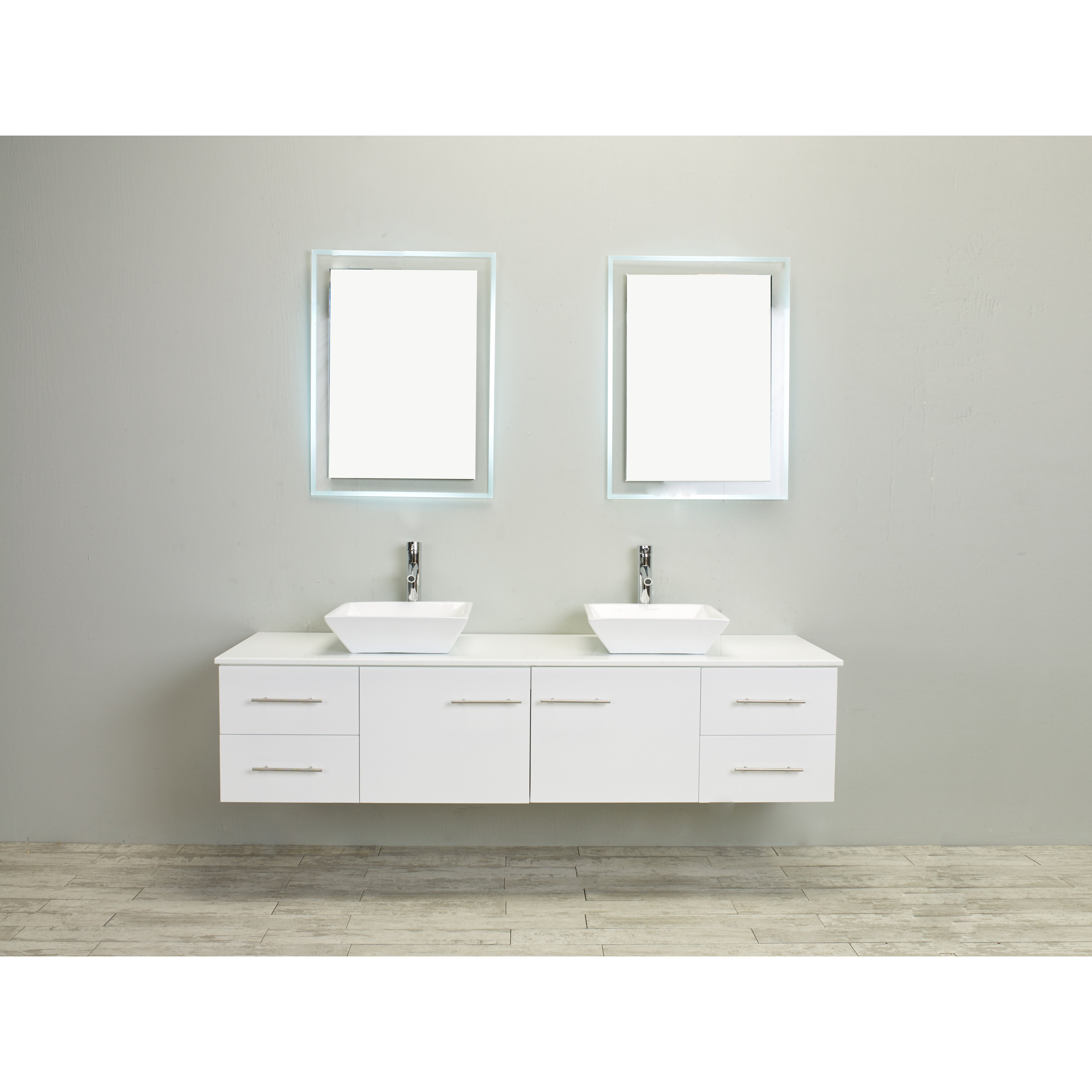 Eviva totti wave 72 inch white modern double sink bathroom for Bathroom vanity tops for sale