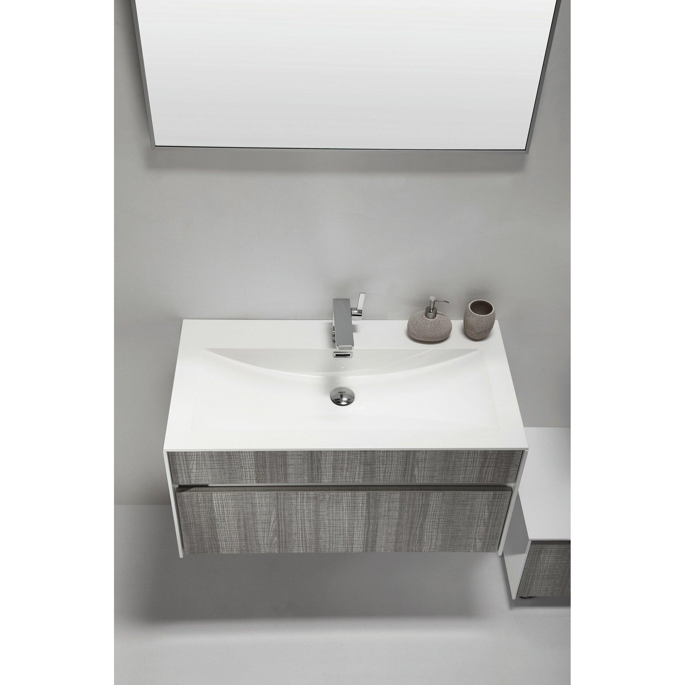 "36 Modern Grey White Bathrooms That Relax Mind Body Soul: Eviva Ashy 36"" Single Modern Bathroom Vanity Set"