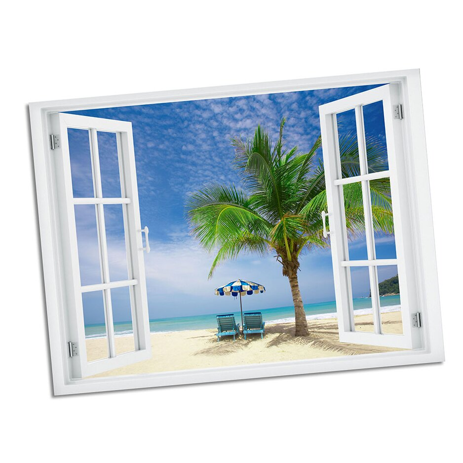 Picture it on Canvas Palm Chairs Paradise Window Art Wall