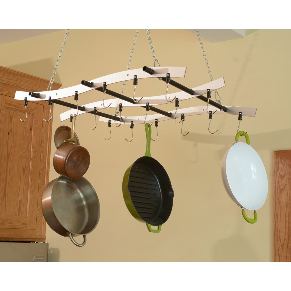 Ceiling mounted drying rack ceiling pots and for Overhead pots and pans rack