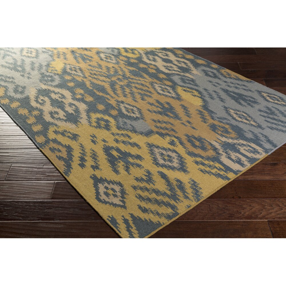 Bungalow Rose Jardine Hand-Woven Teal/Gold Area Rug