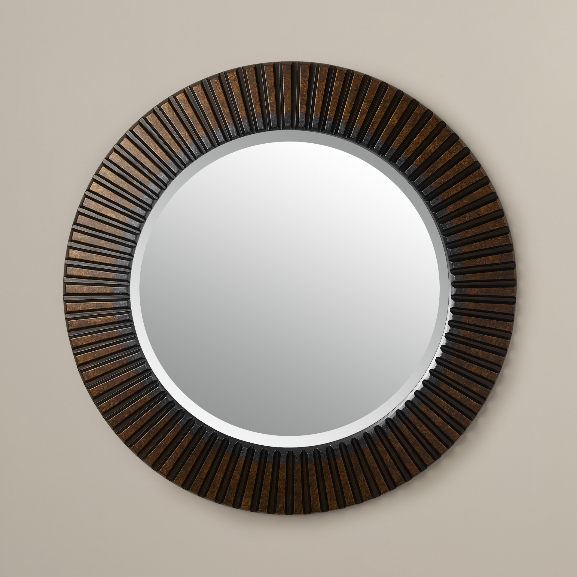 Bungalow rose sneek round wall mirror reviews wayfair for Large round mirror for living room