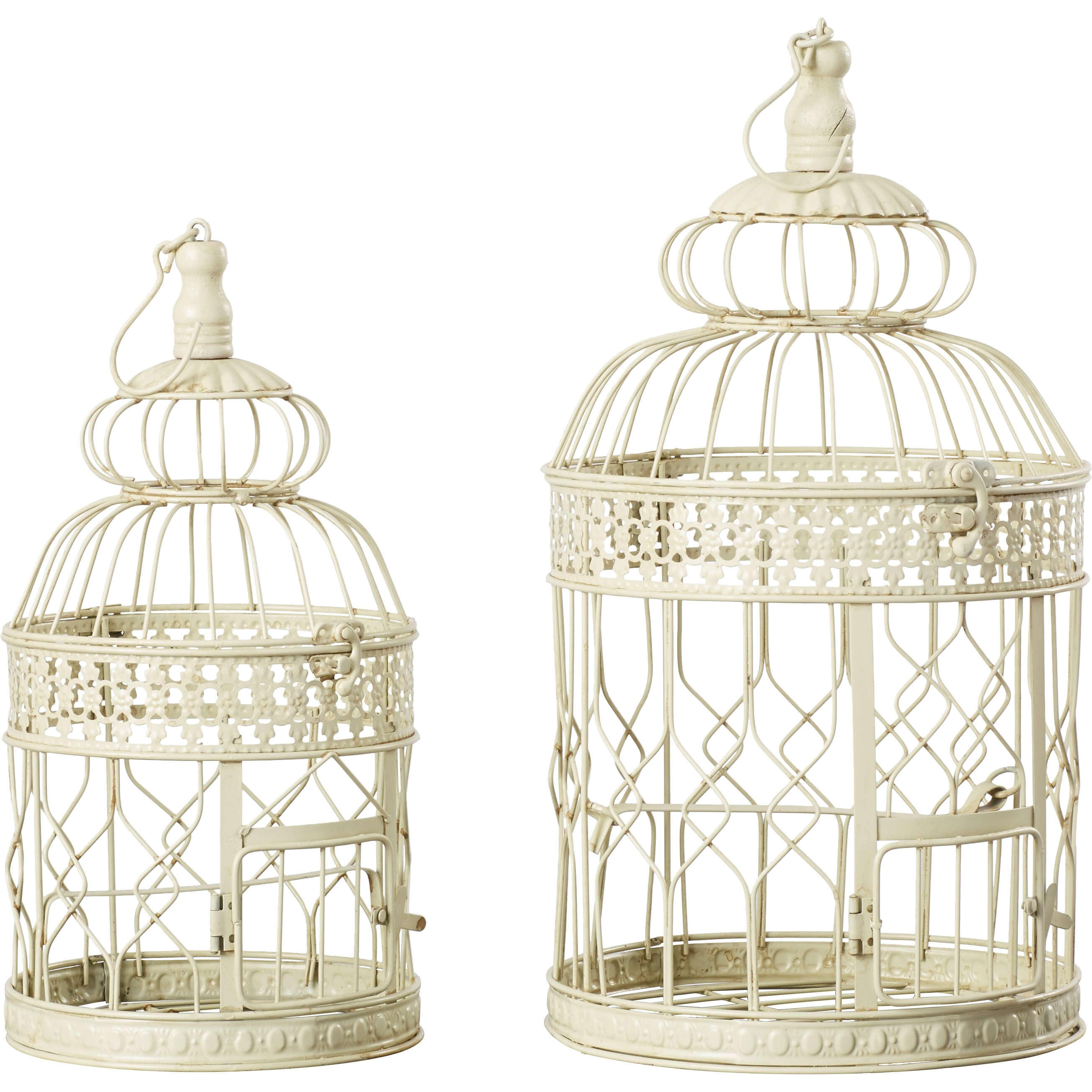 Bungalow Rose 2 Piece Decorative Metal Bird Cage Set