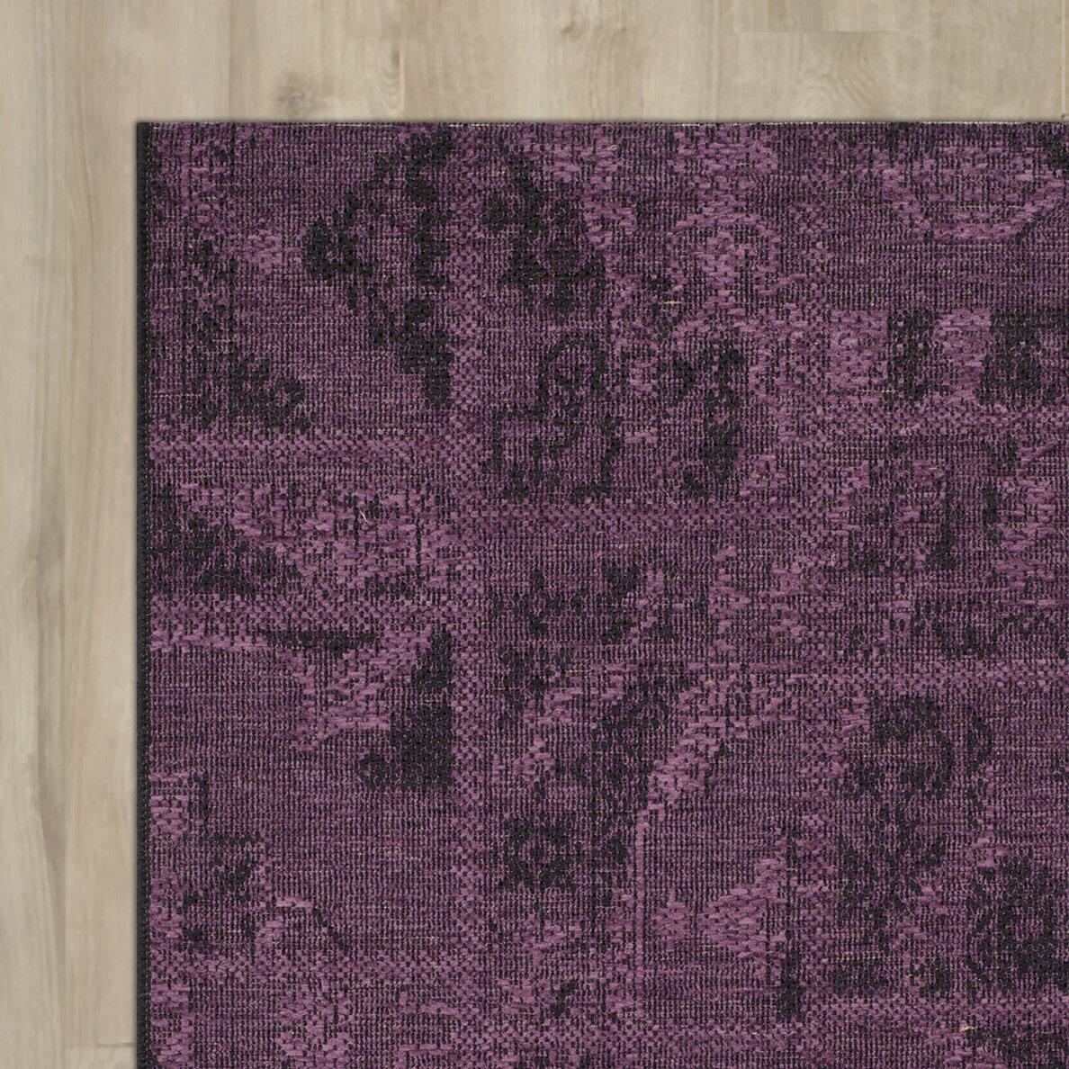 Bungalow Rose Sanaoubar Black / Purple Area Rug