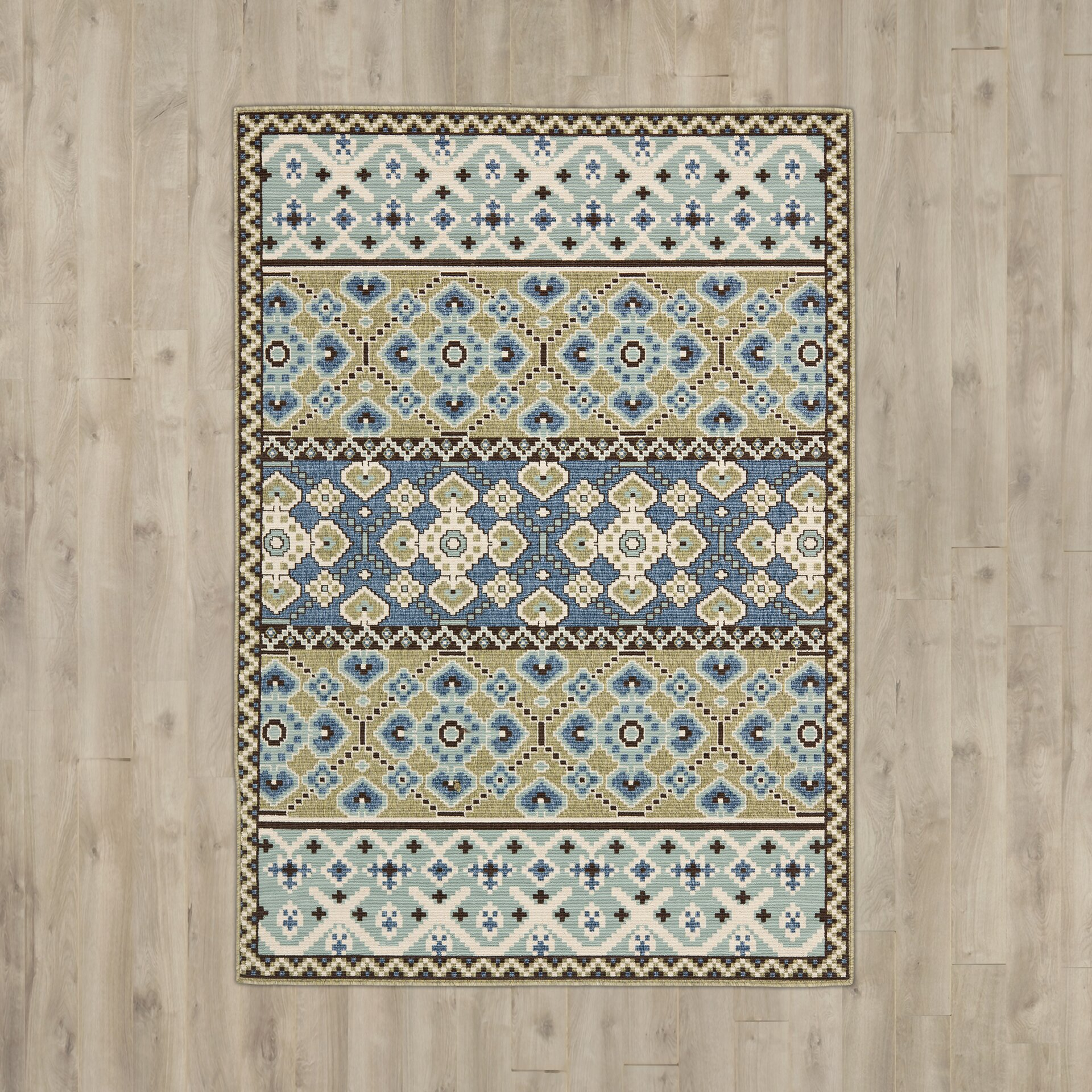 Bungalow Rose Zahr Green / Blue Area Rug & Reviews