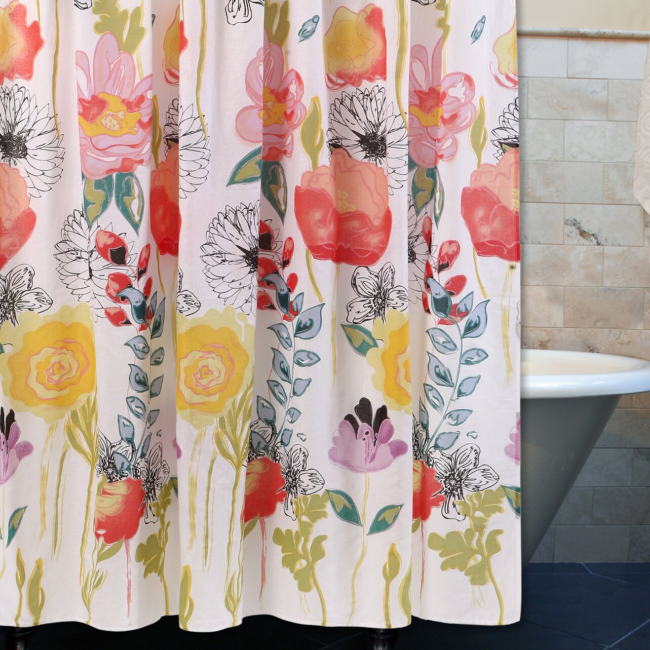 Beautiful vintage rose floral shower curtain by yourperfecthome - Bungalow Rose Sali Shower Curtain Reviews Wayfair Seaside