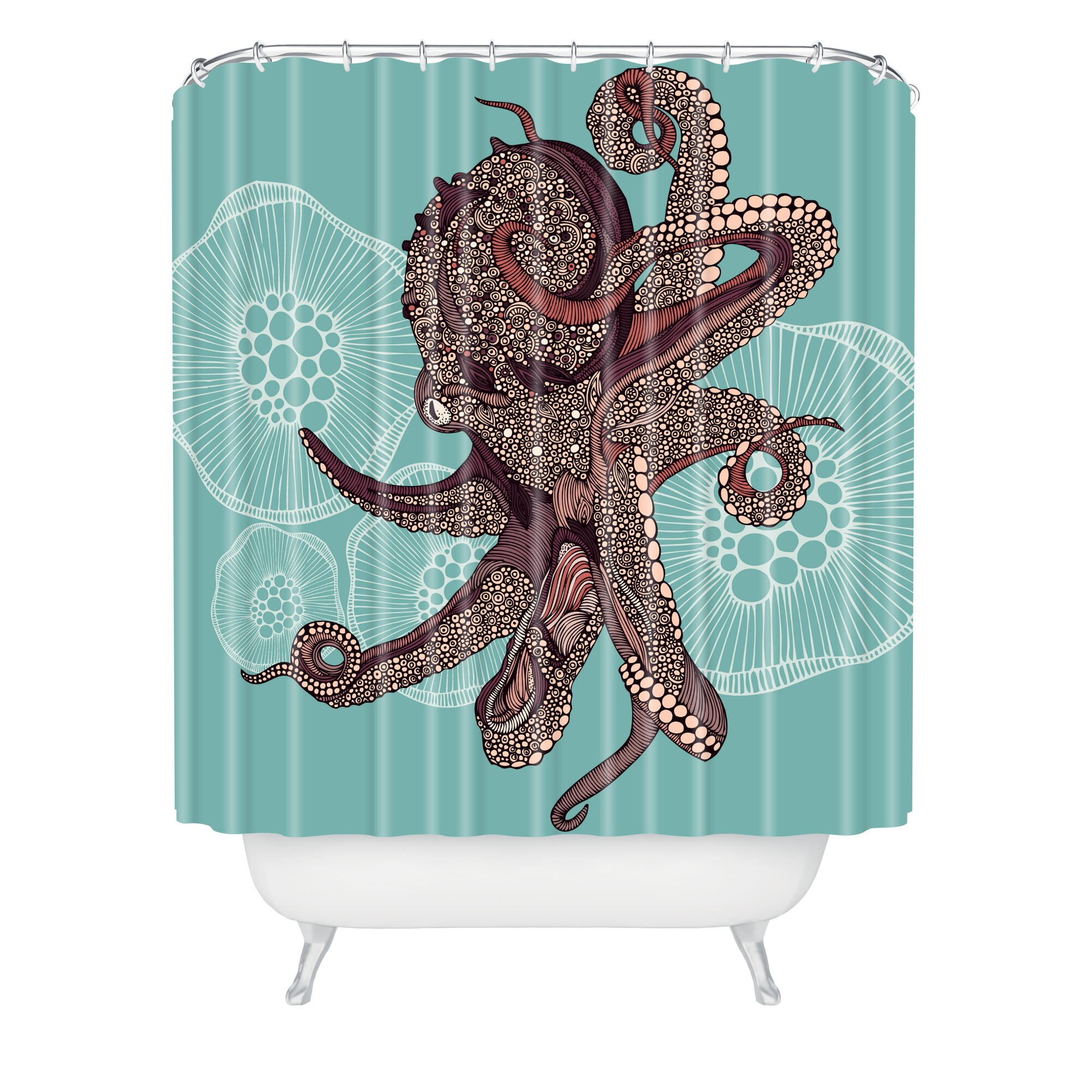 Bungalow Rose Deepak Bloom Octopus Shower Curtain Reviews Wayfair