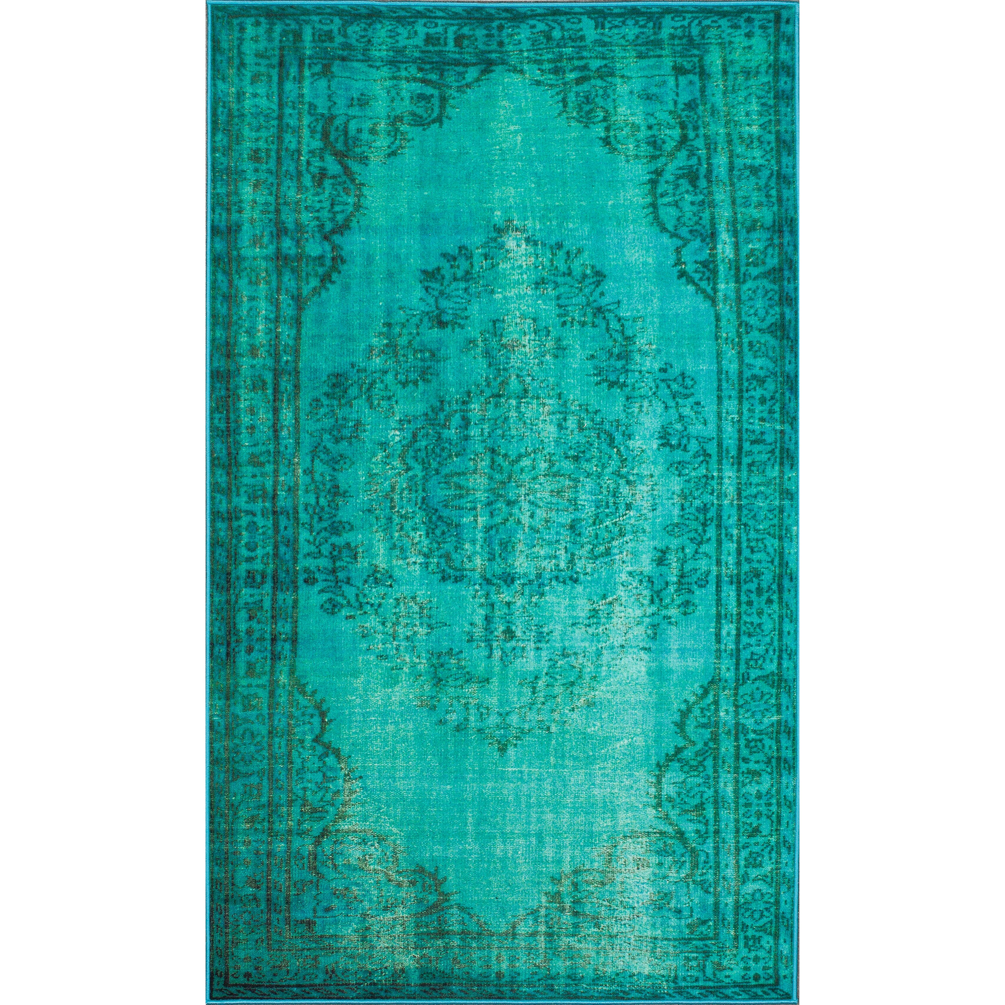 Bungalow Rose Xavier Machine Woven Turquoise Area Rug