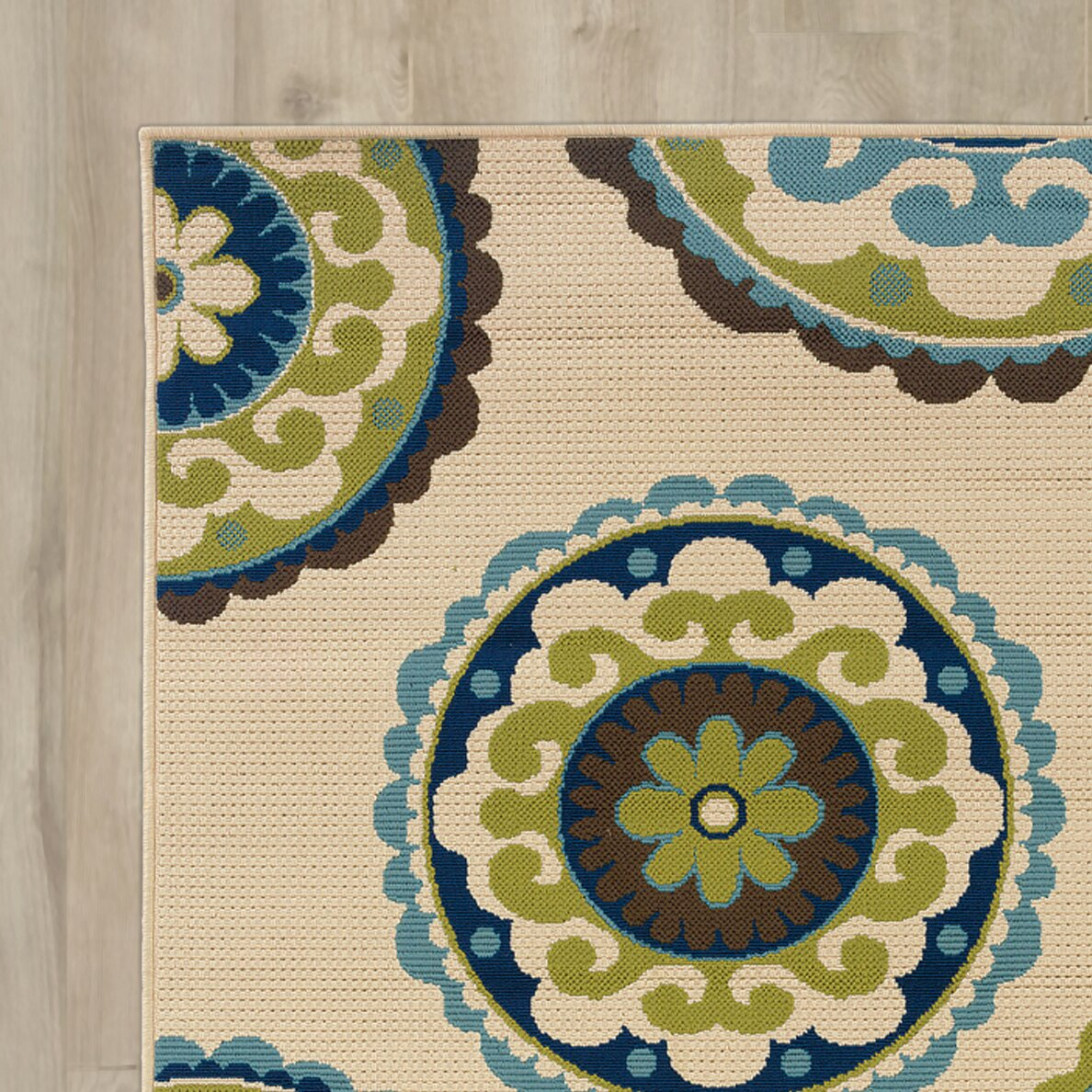 Bungalow Rose Capri Beige/Green Indoor/Outdoor Area Rug