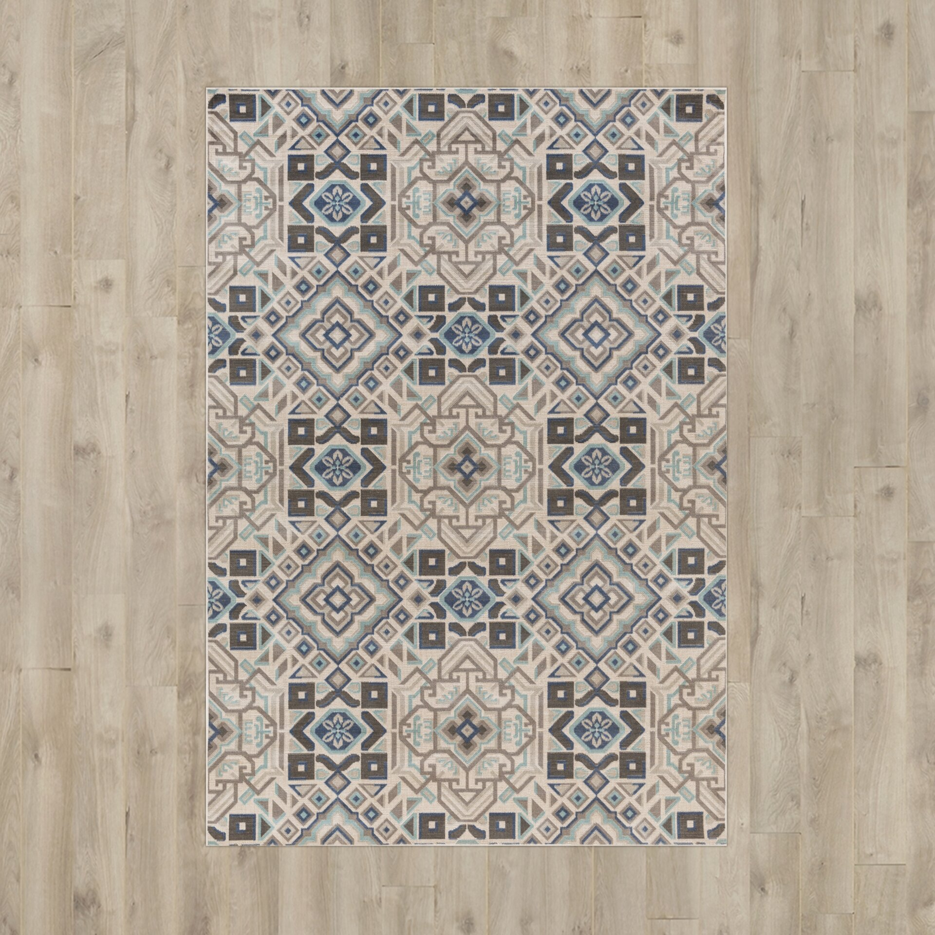 Bungalow Rose Septfontaines Teal, Beige & Charcoal Area