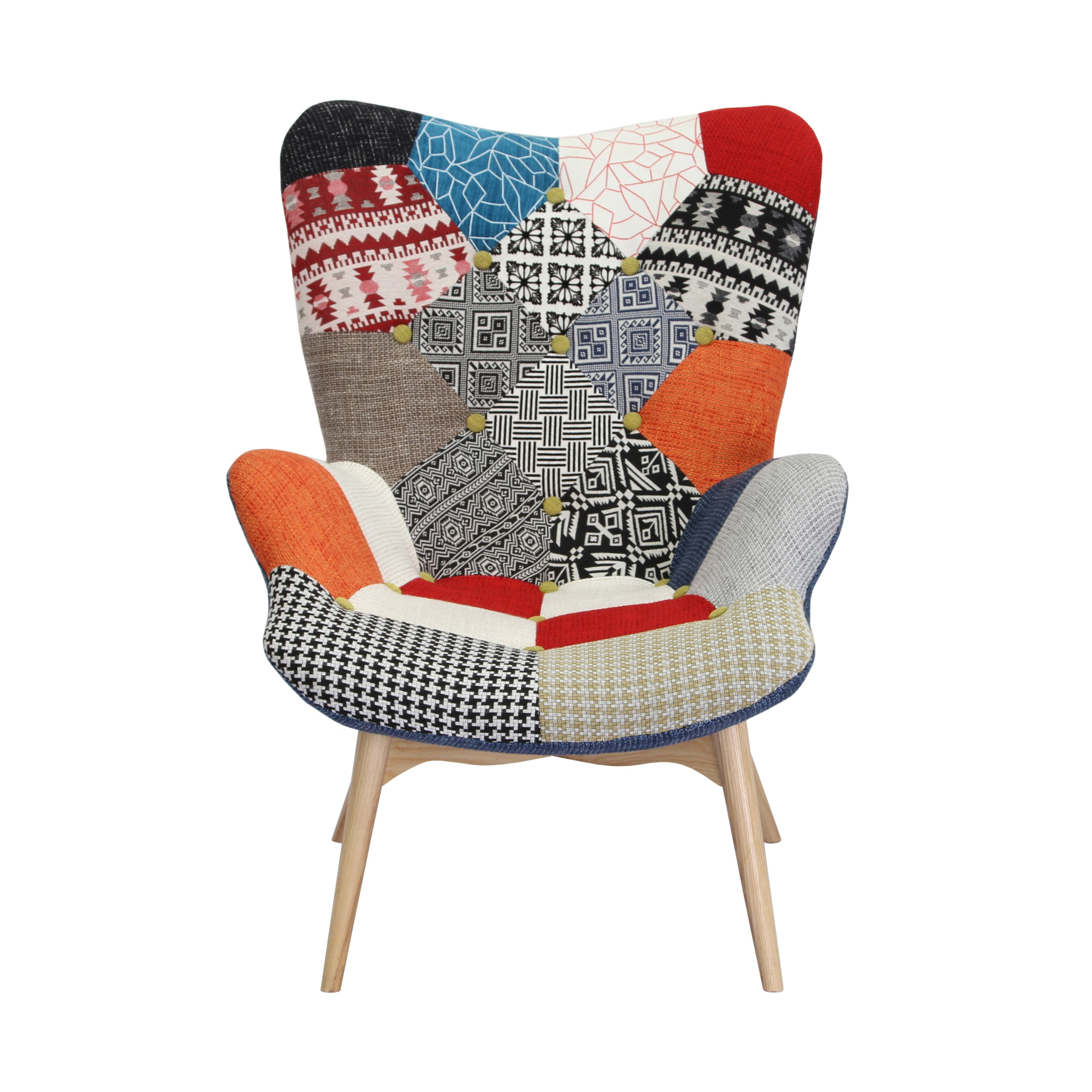 Bungalow Rose Malini Button Patchwork Upholstered Armchair