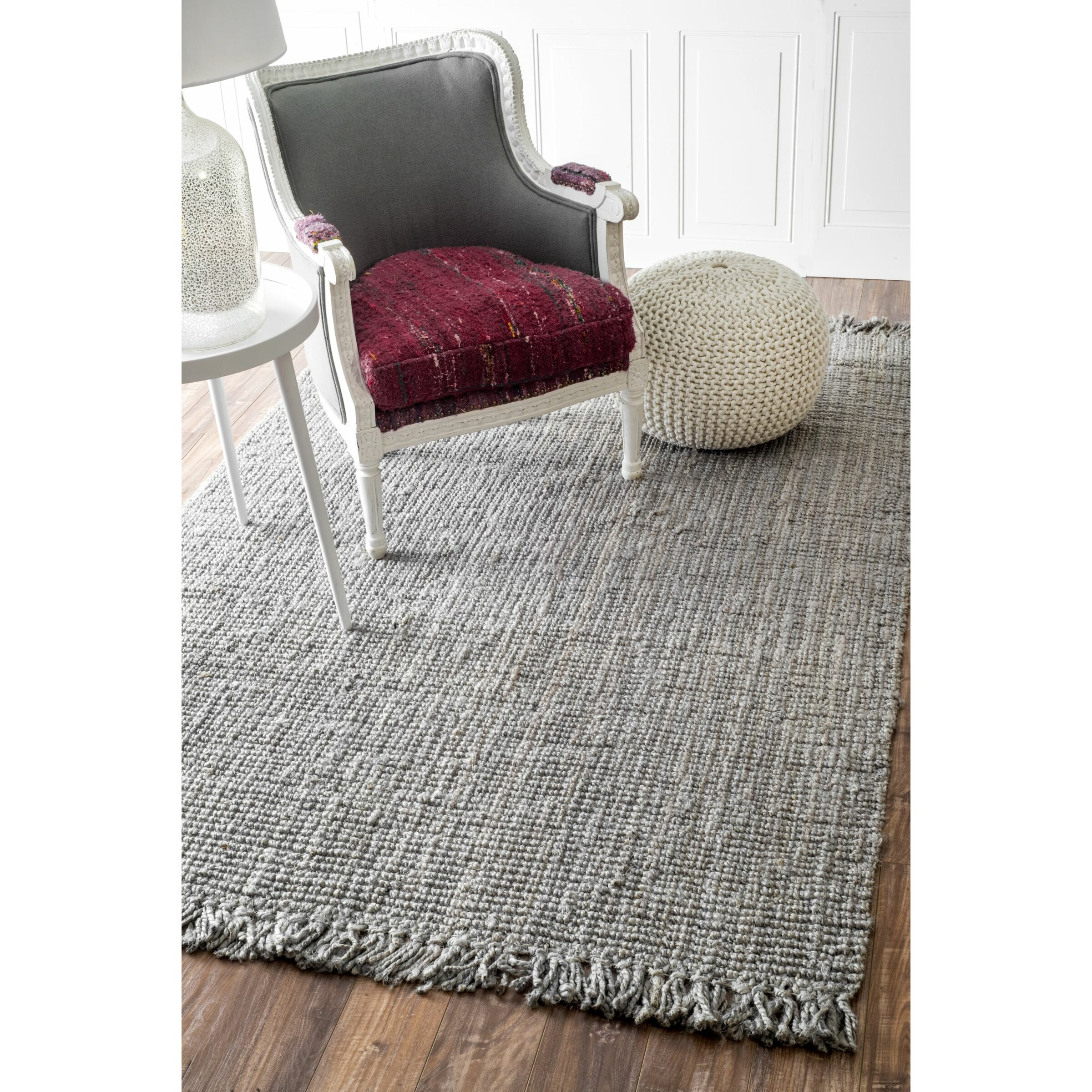 Bungalow Rose Fraida Jute Gray Area Rug & Reviews