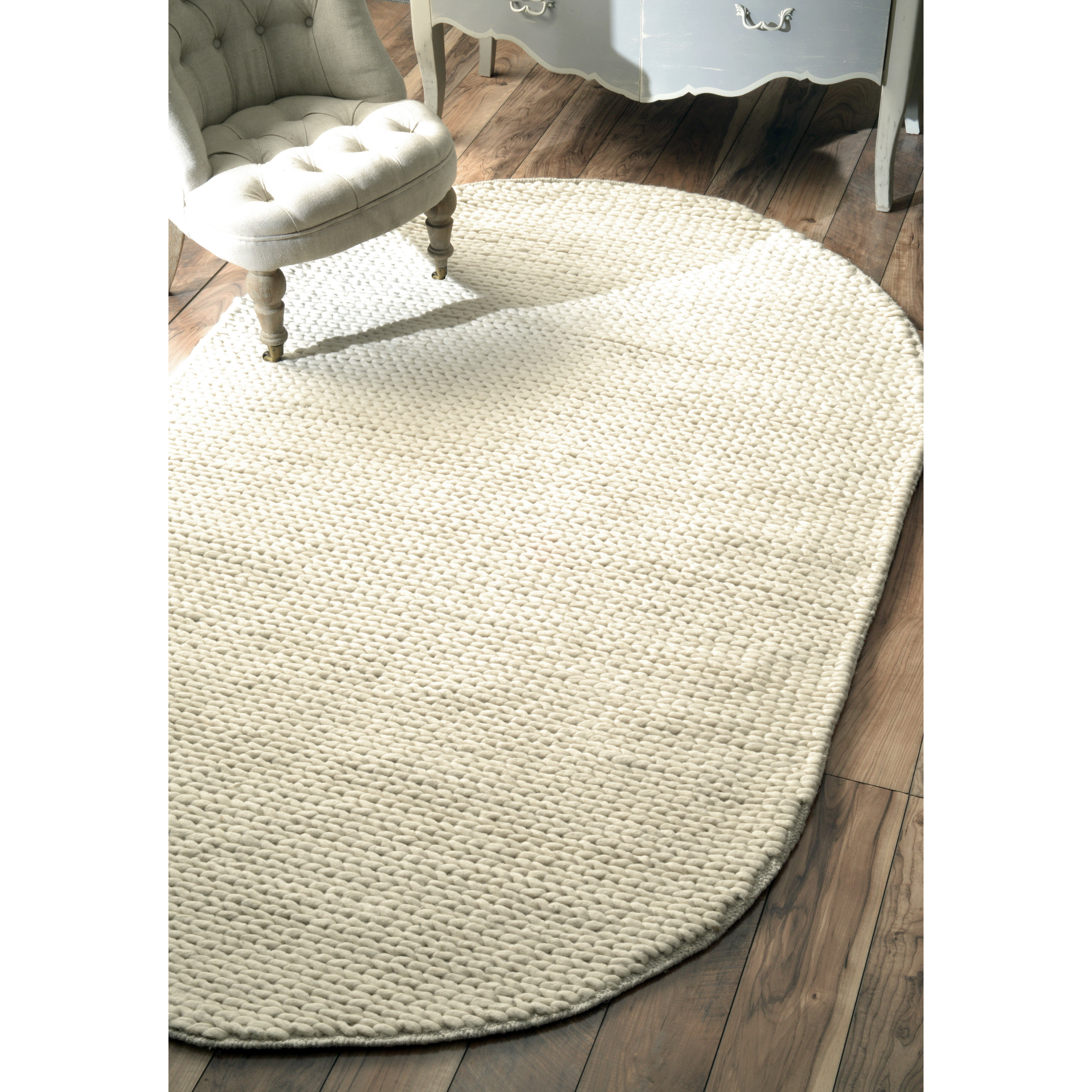 Bungalow Rose Zayan Meika Ivory Chunky Wool Cable Area Rug