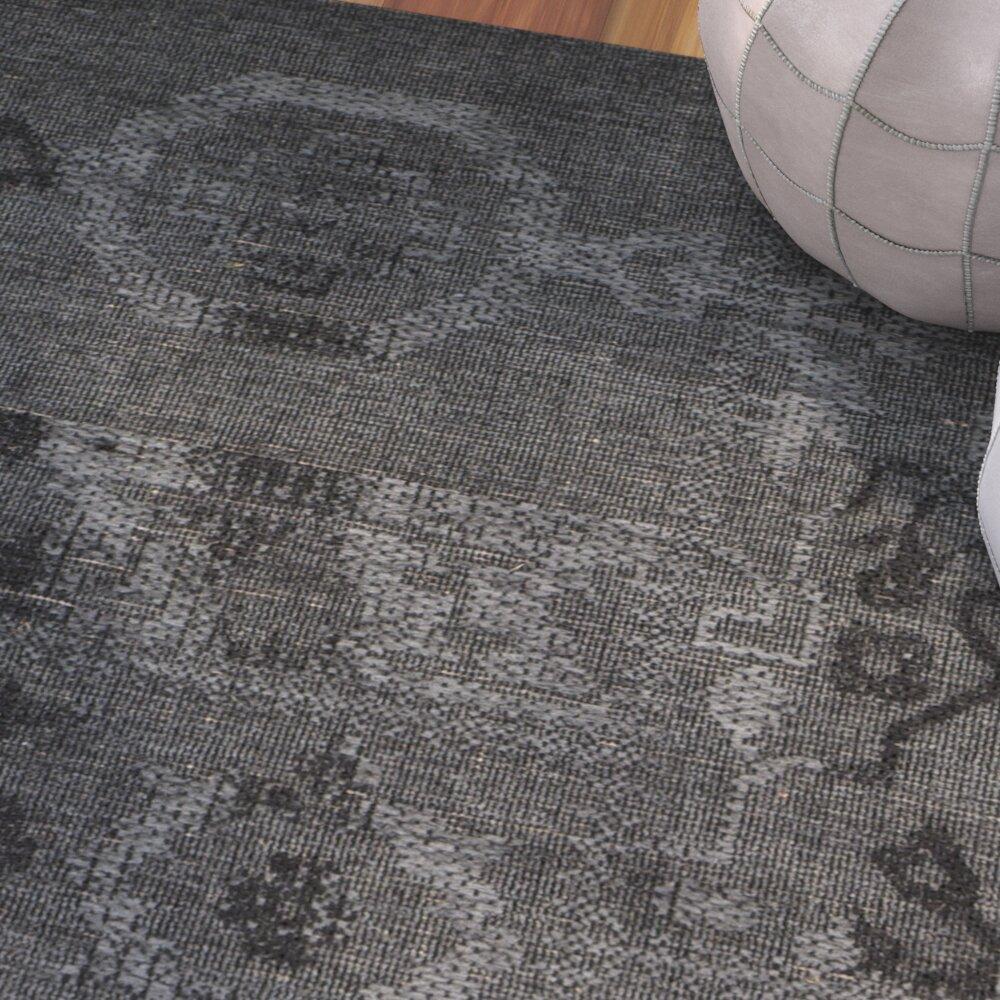 bungalow rose sanaoubar black grey area rug wayfair. Black Bedroom Furniture Sets. Home Design Ideas