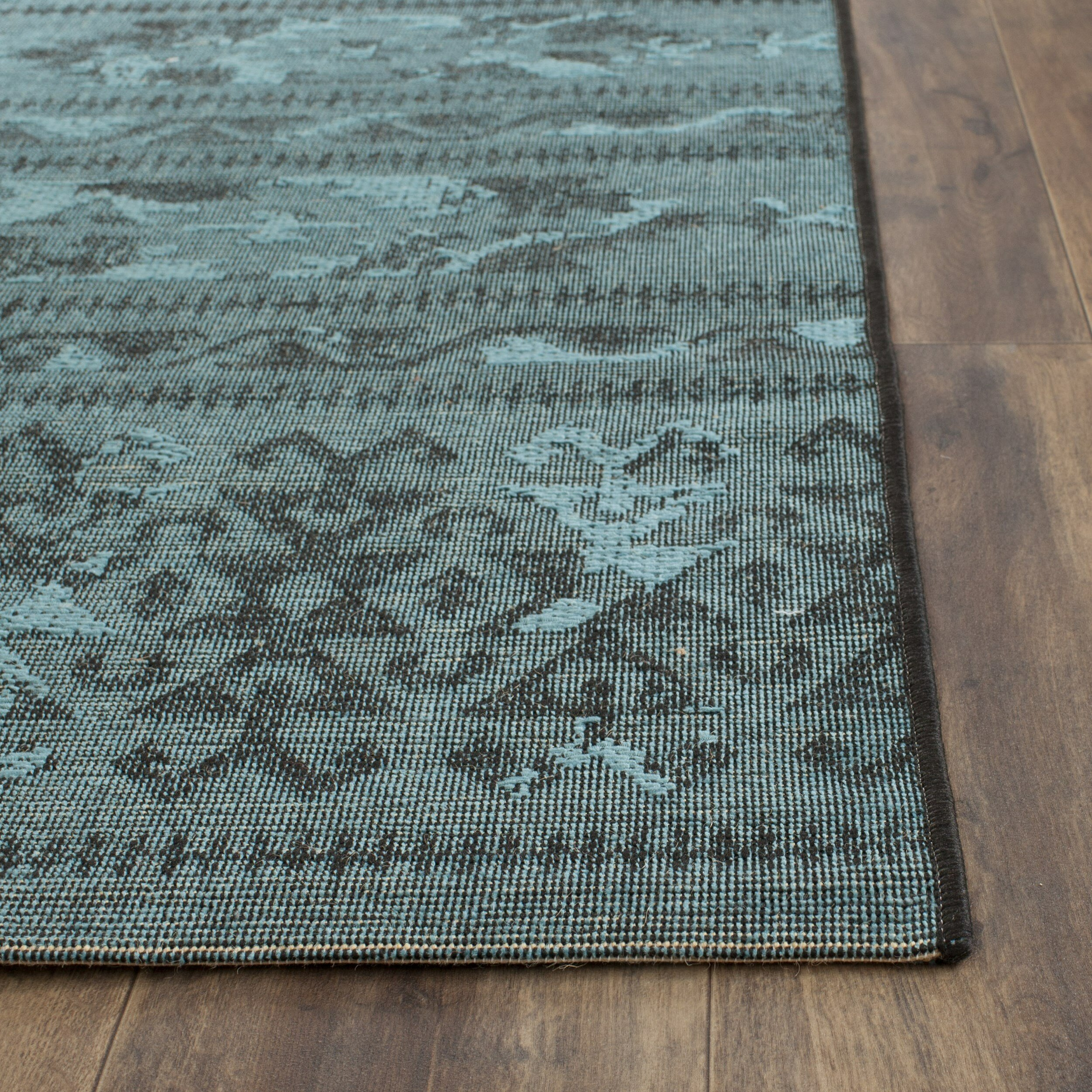 Bungalow Rose Saleya Turquoise Area Rug Reviews: Bungalow Rose Port Laguerre Black & Turquoise Velvety Area