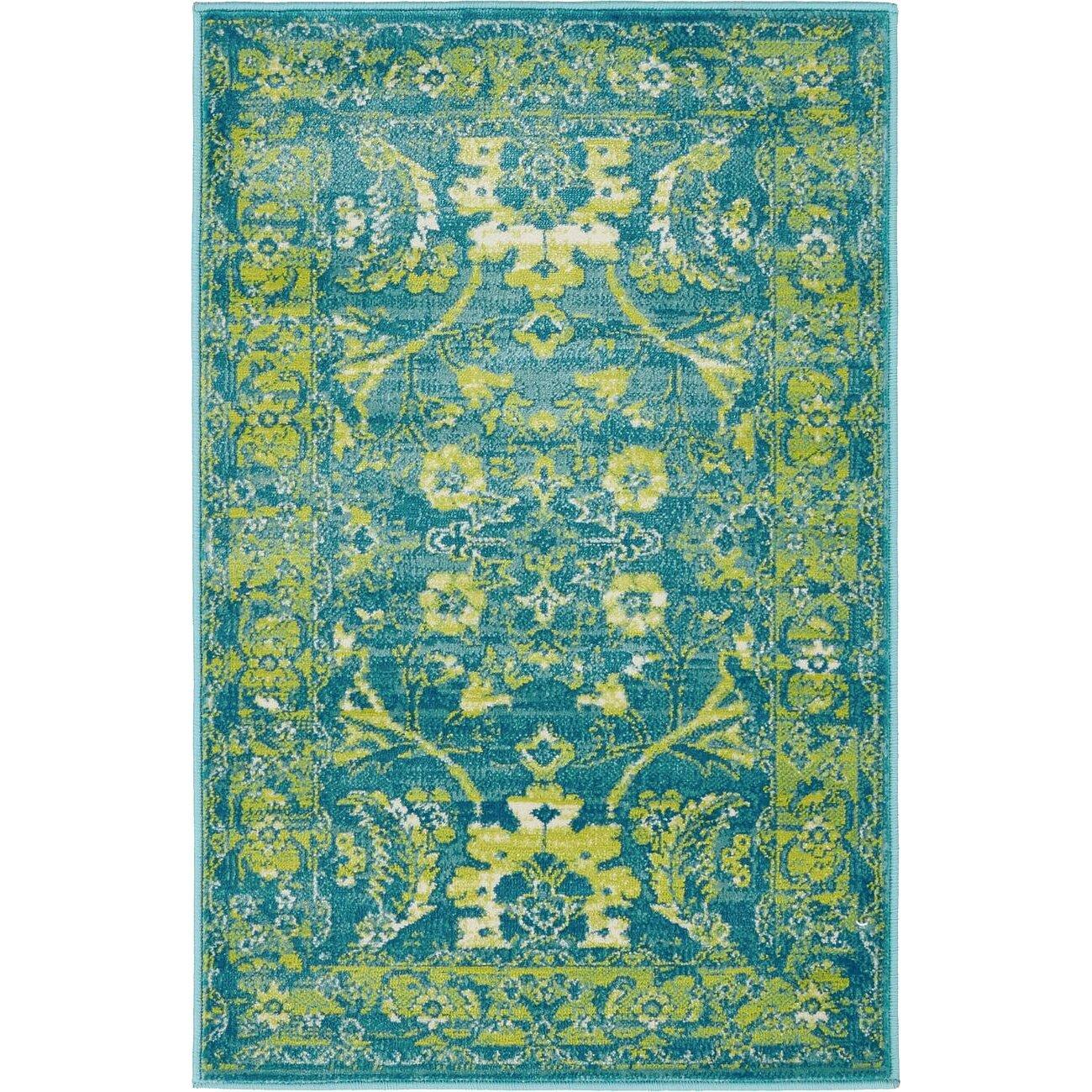 Bungalow Rose Yareli Blue/Green Area Rug & Reviews