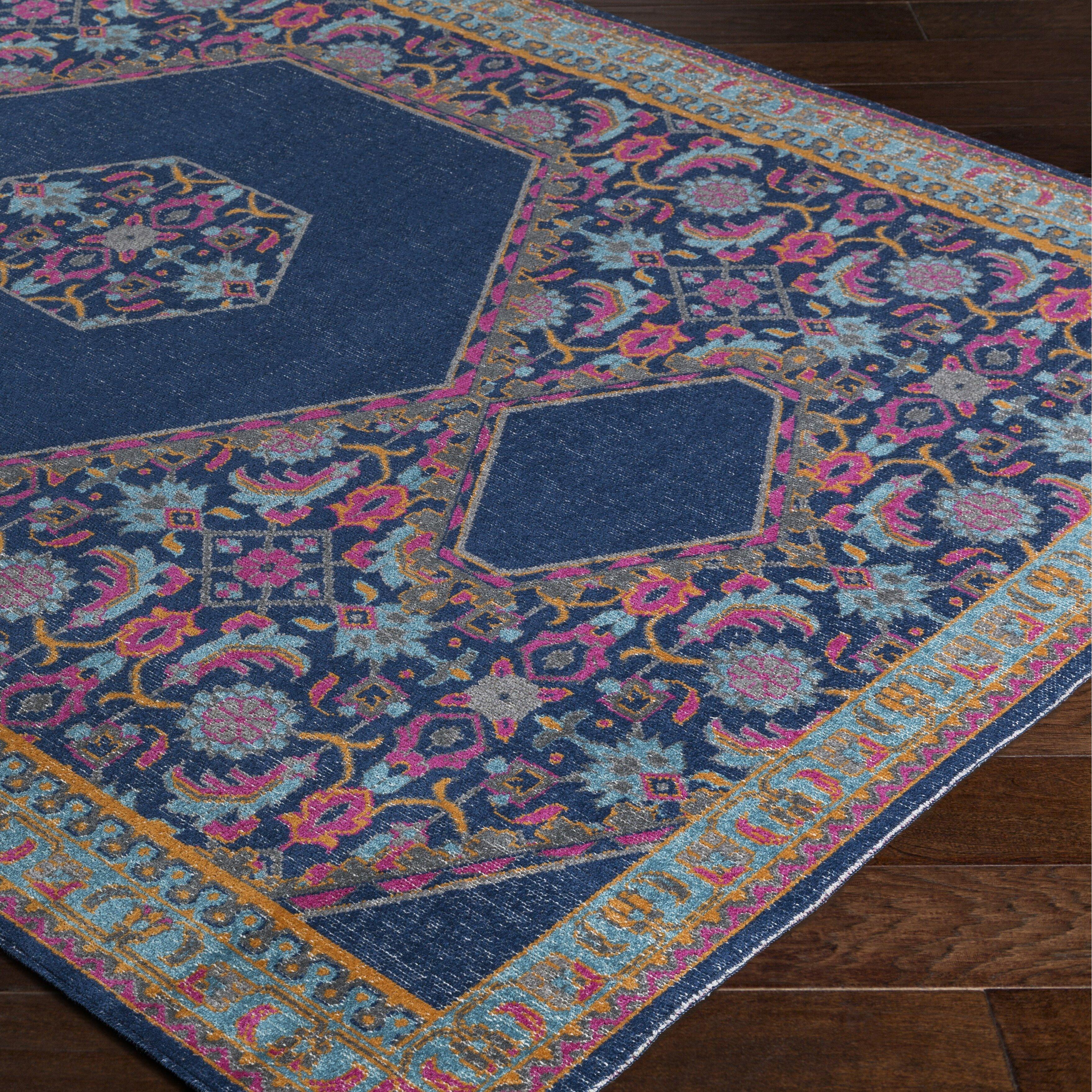 bungalow rose randhir blue pink area rug reviews wayfair. Black Bedroom Furniture Sets. Home Design Ideas
