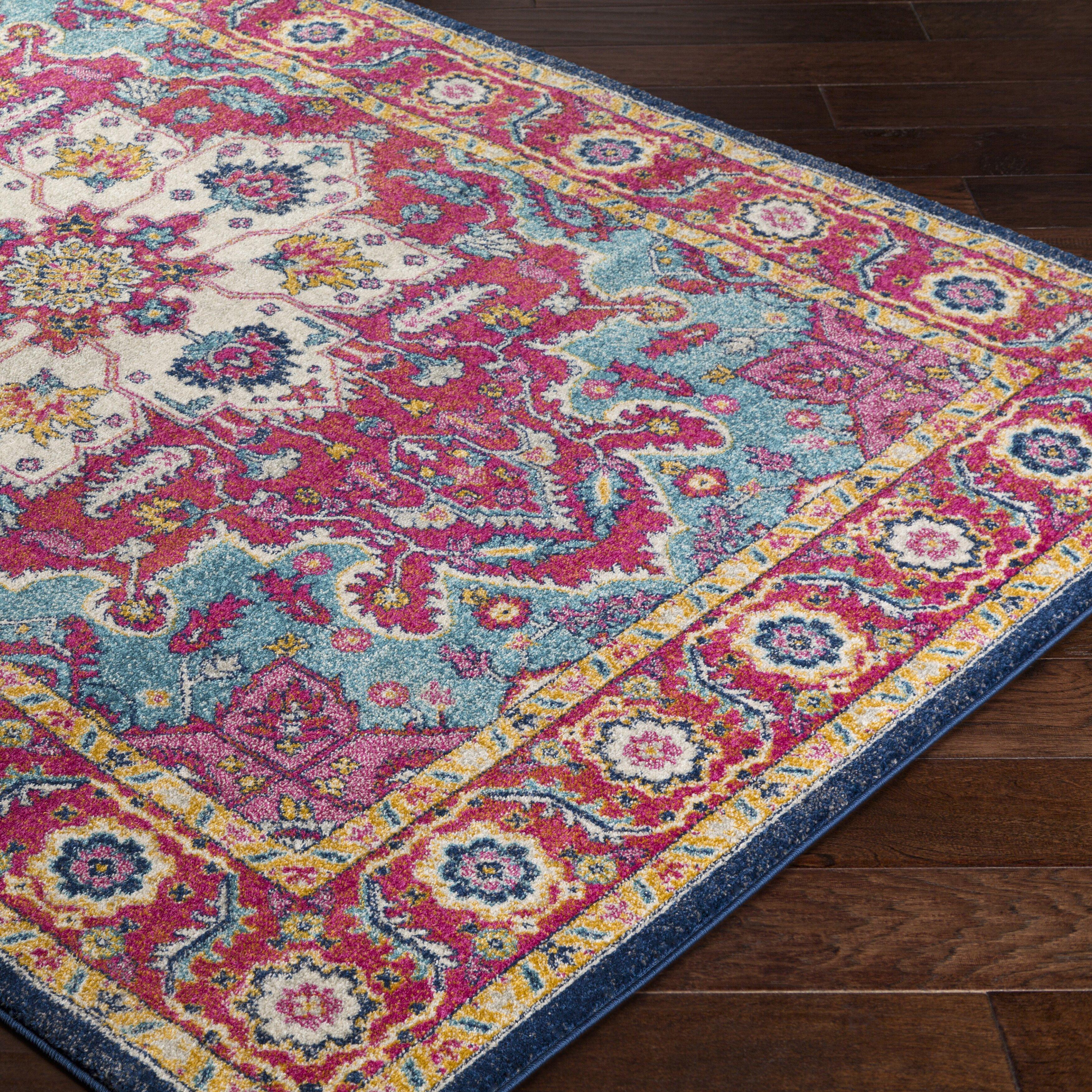 bungalow rose andover pink blue area rug wayfair. Black Bedroom Furniture Sets. Home Design Ideas