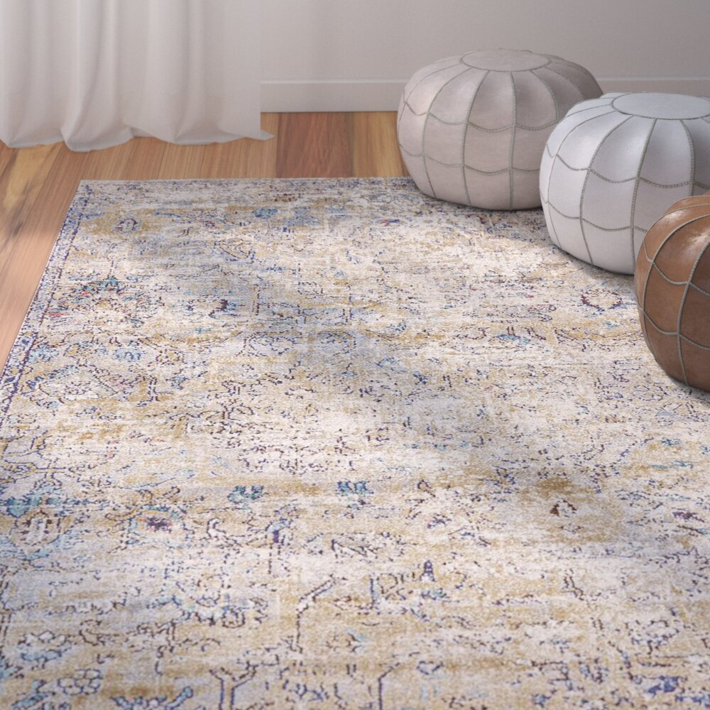 Bungalow Rose Koury Light Blue Beige Area Rug Amp Reviews
