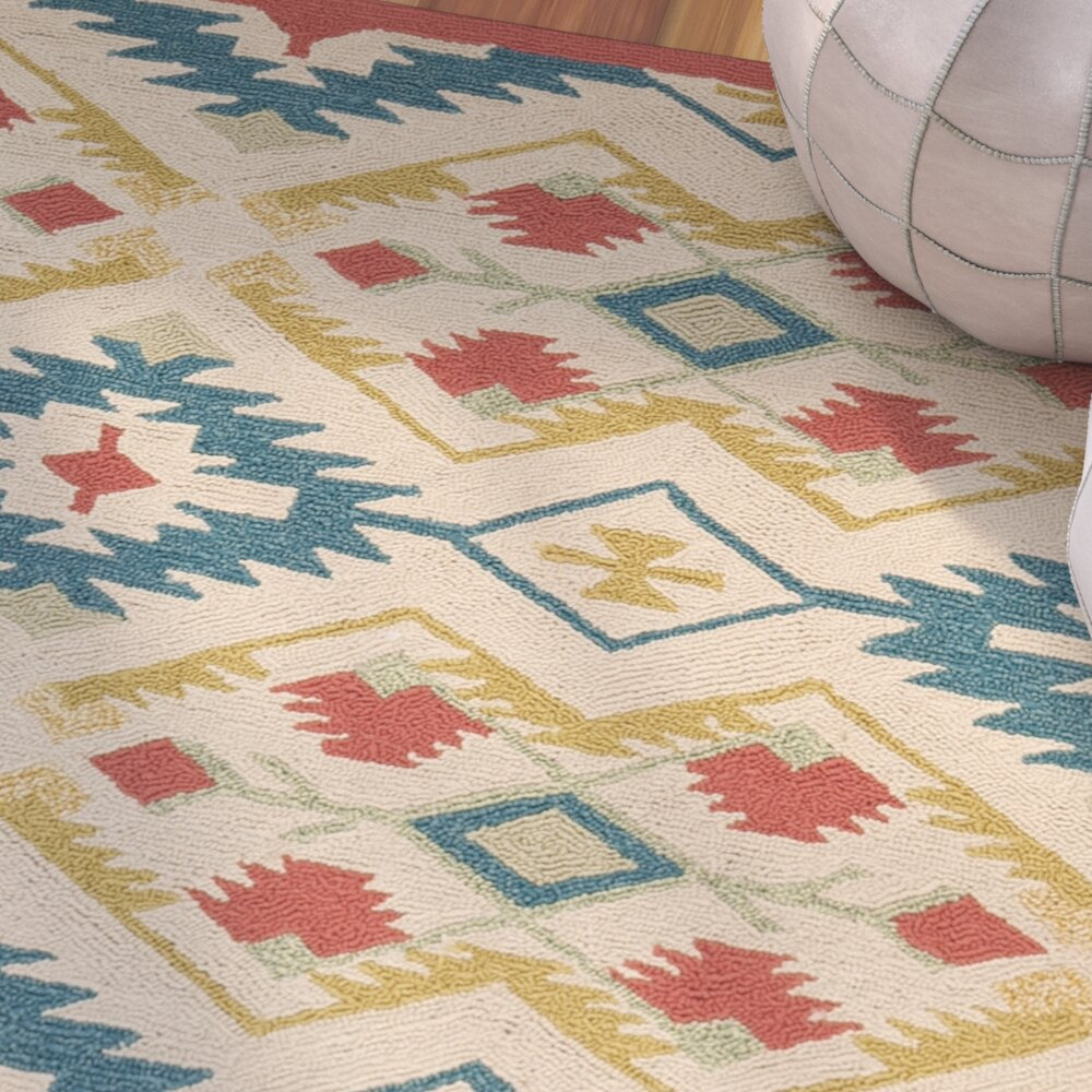 Bungalow Rose Puri Yellow And Blue Outdoor Indoor Area Rug