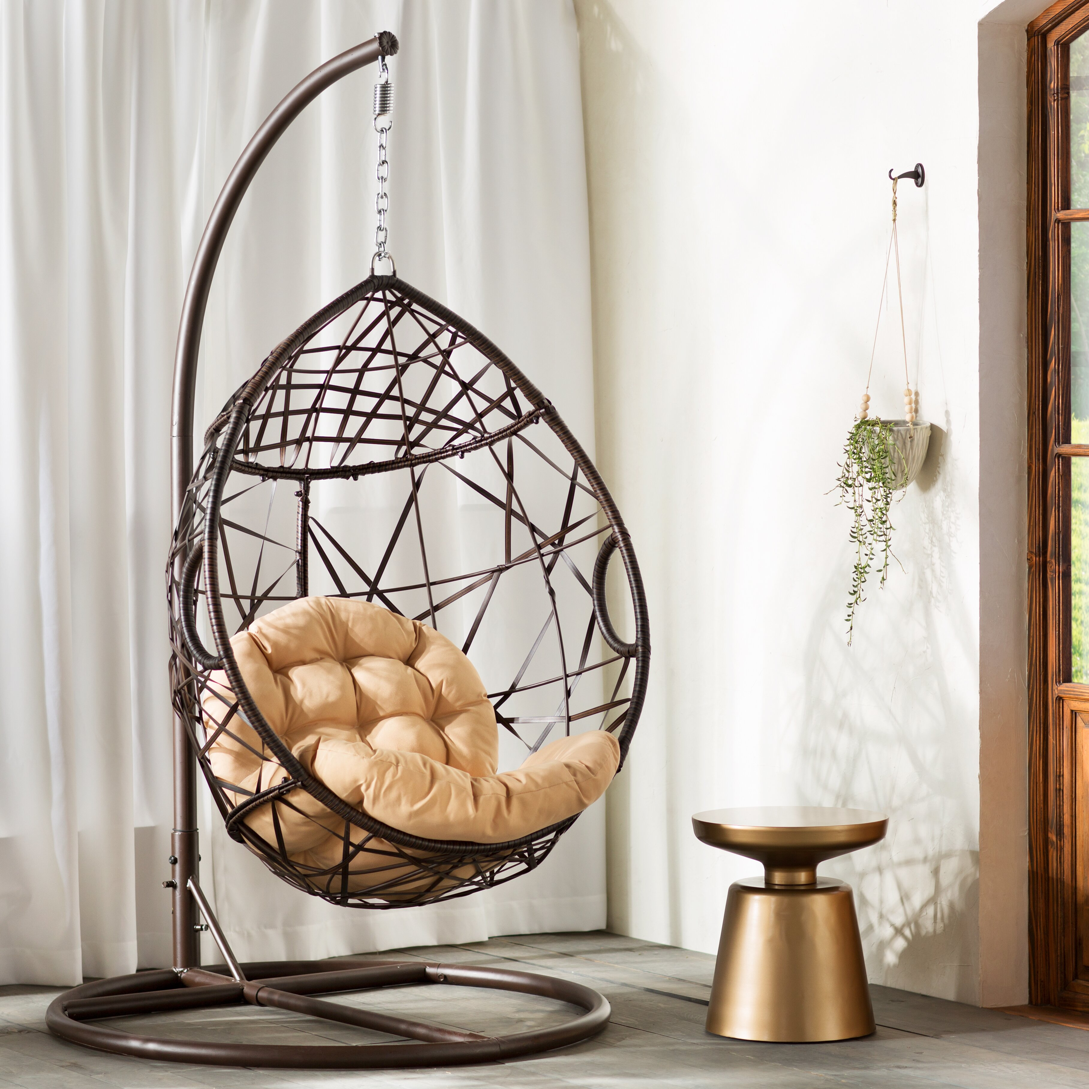 Bungalow Rose Auxerre Tear Drop Swinging Chair With