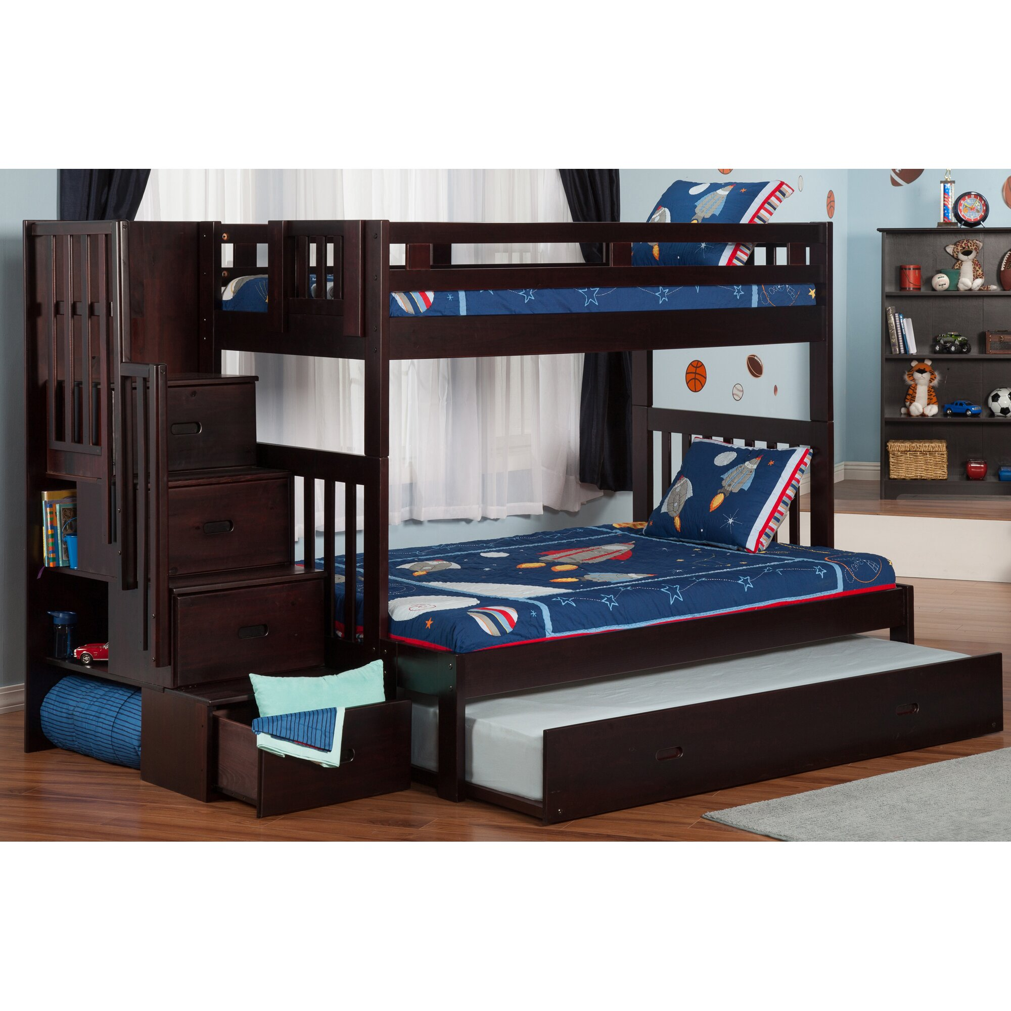 Viv Rae Edwardo Twin Over Full Bunk Bed With Staircase