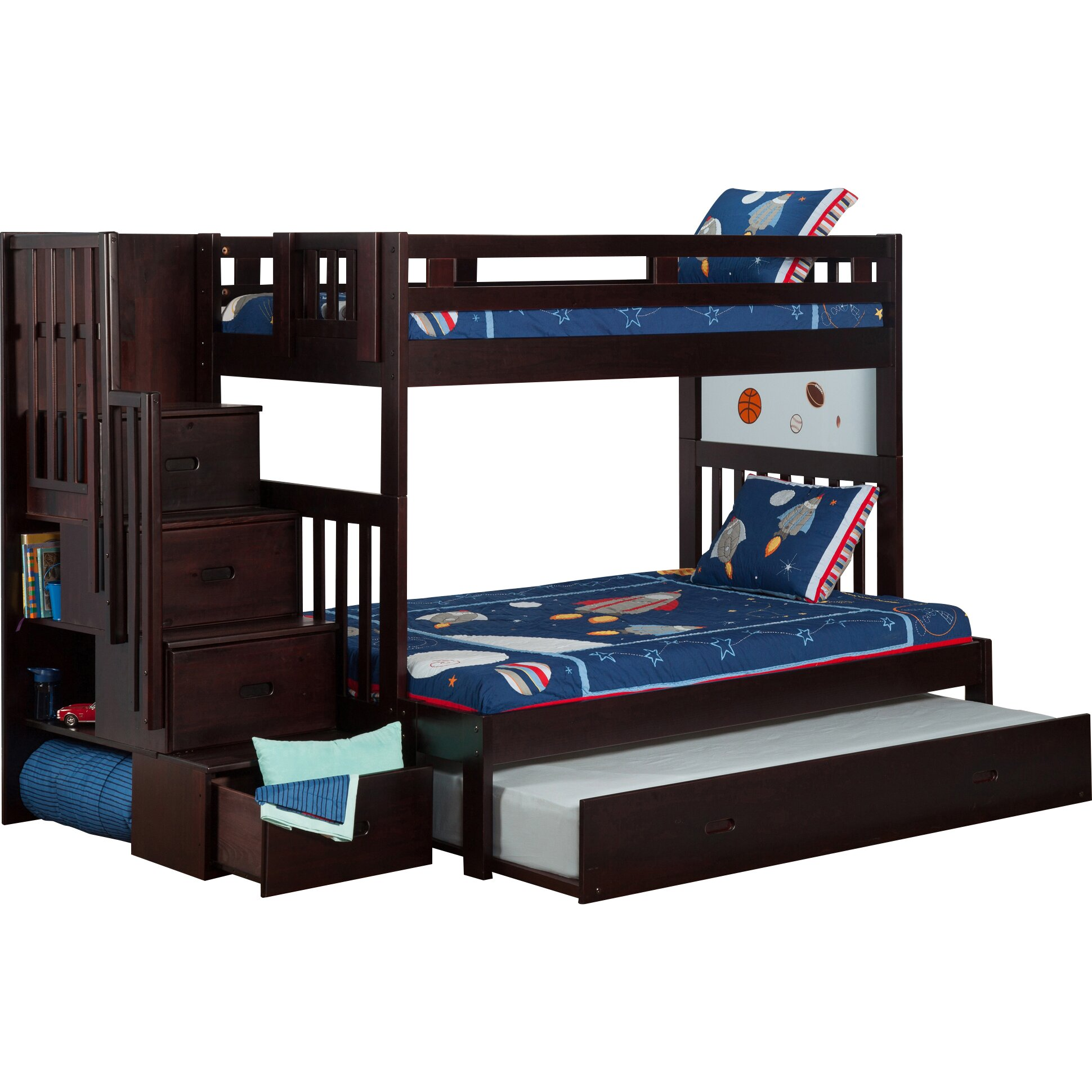 Full Over Twin Bunk Trundle Bed
