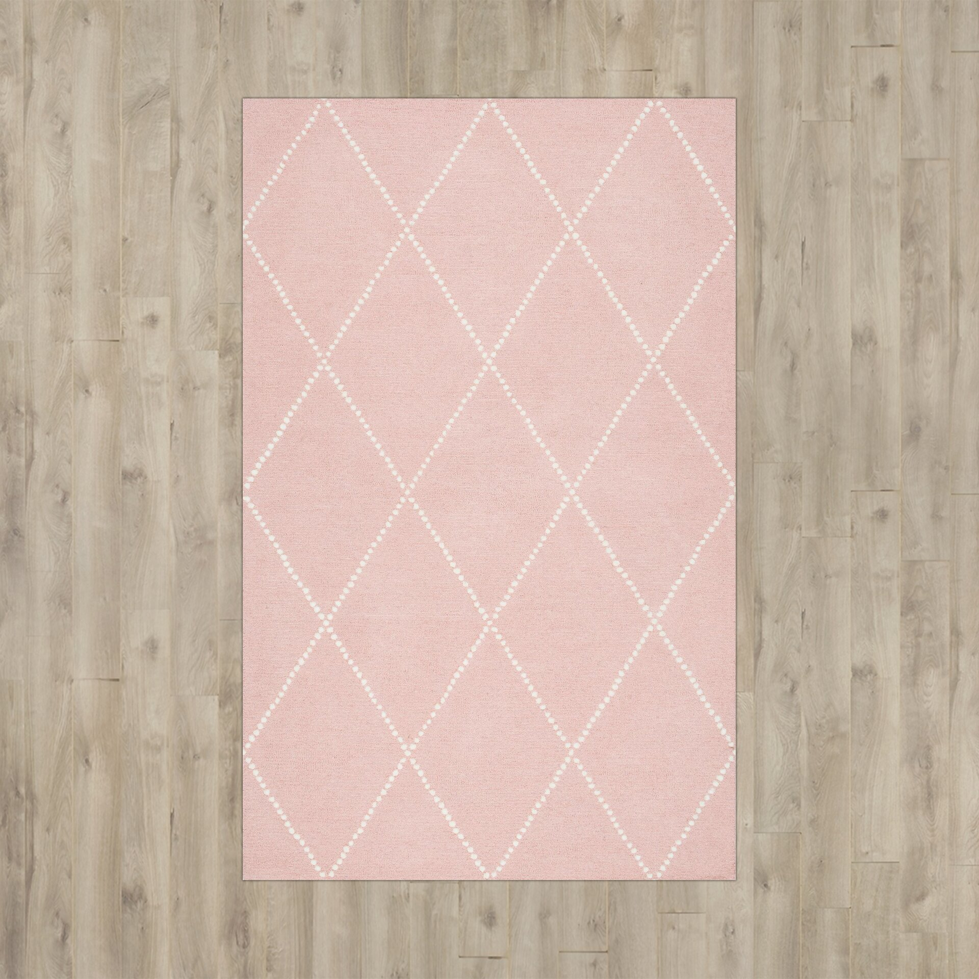 Viv + Rae Nat Diamond Trellis Hand-Tufted Baby Pink Area