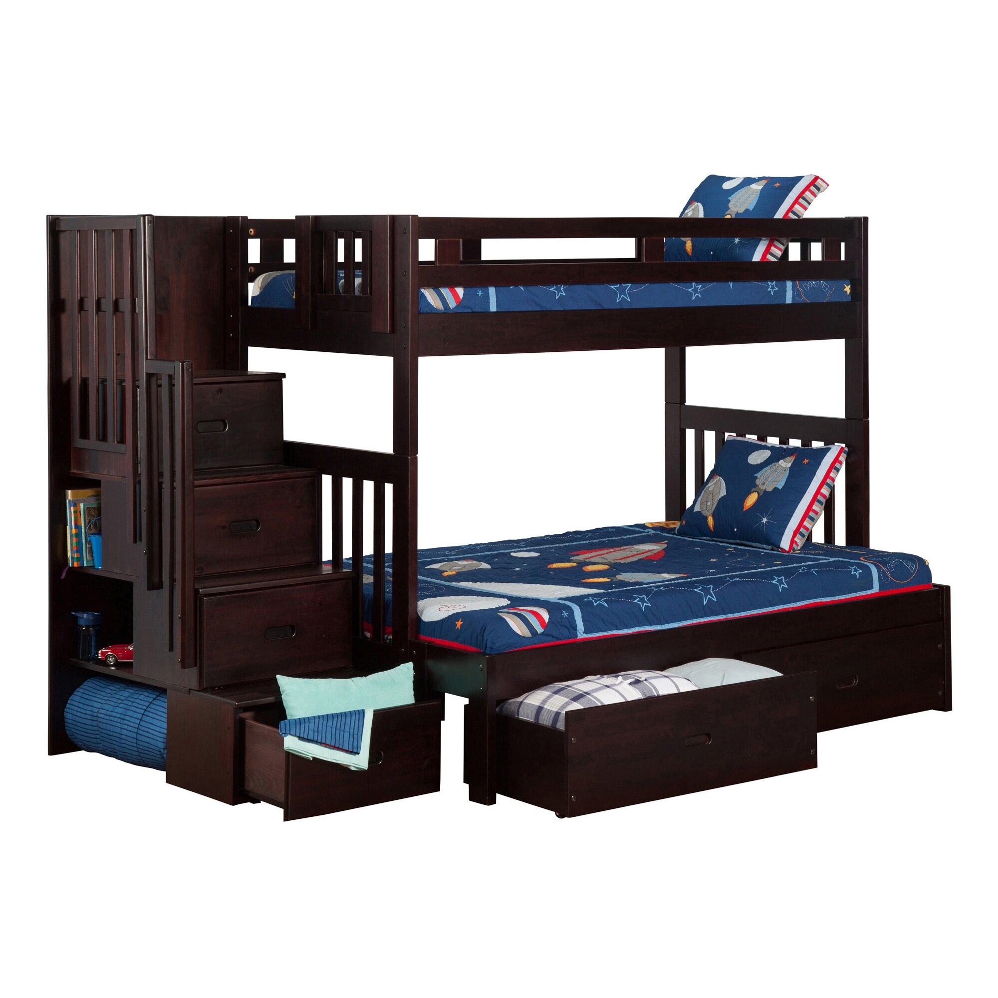 Viv Rae Twin Over Full Bunk Bed With Staircase And