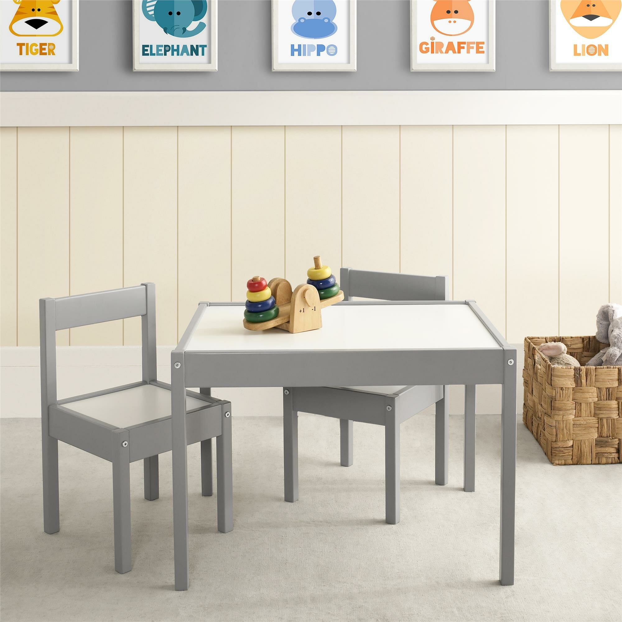 Viv rae miriam 3 piece rectangular table and chair set for Grey childrens chair
