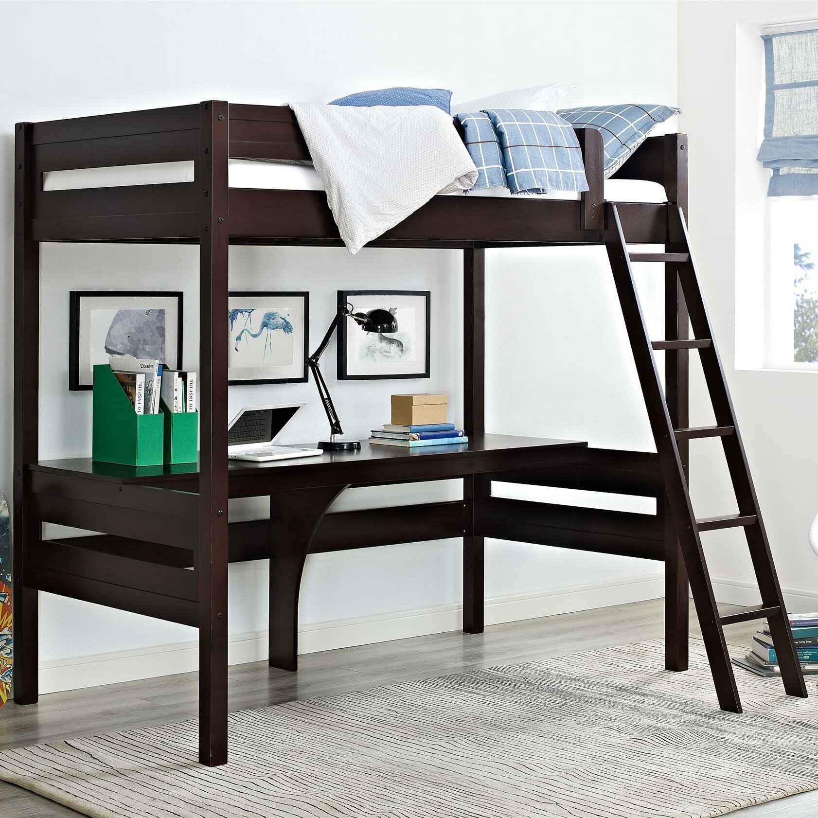 viv rae alfred twin loft bed with desk reviews wayfair. Black Bedroom Furniture Sets. Home Design Ideas