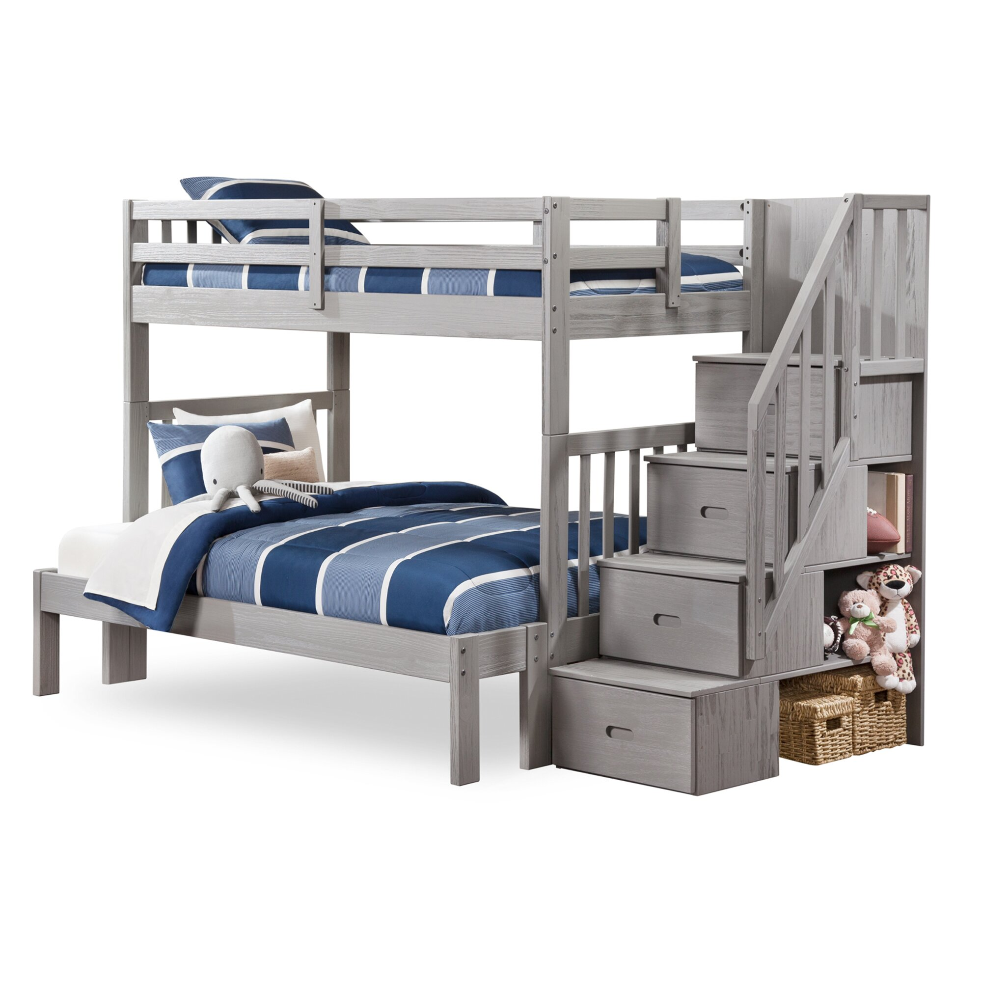 Viv rae dustin staircase bunk bed with drawers wayfair - Bunkbeds with drawers ...