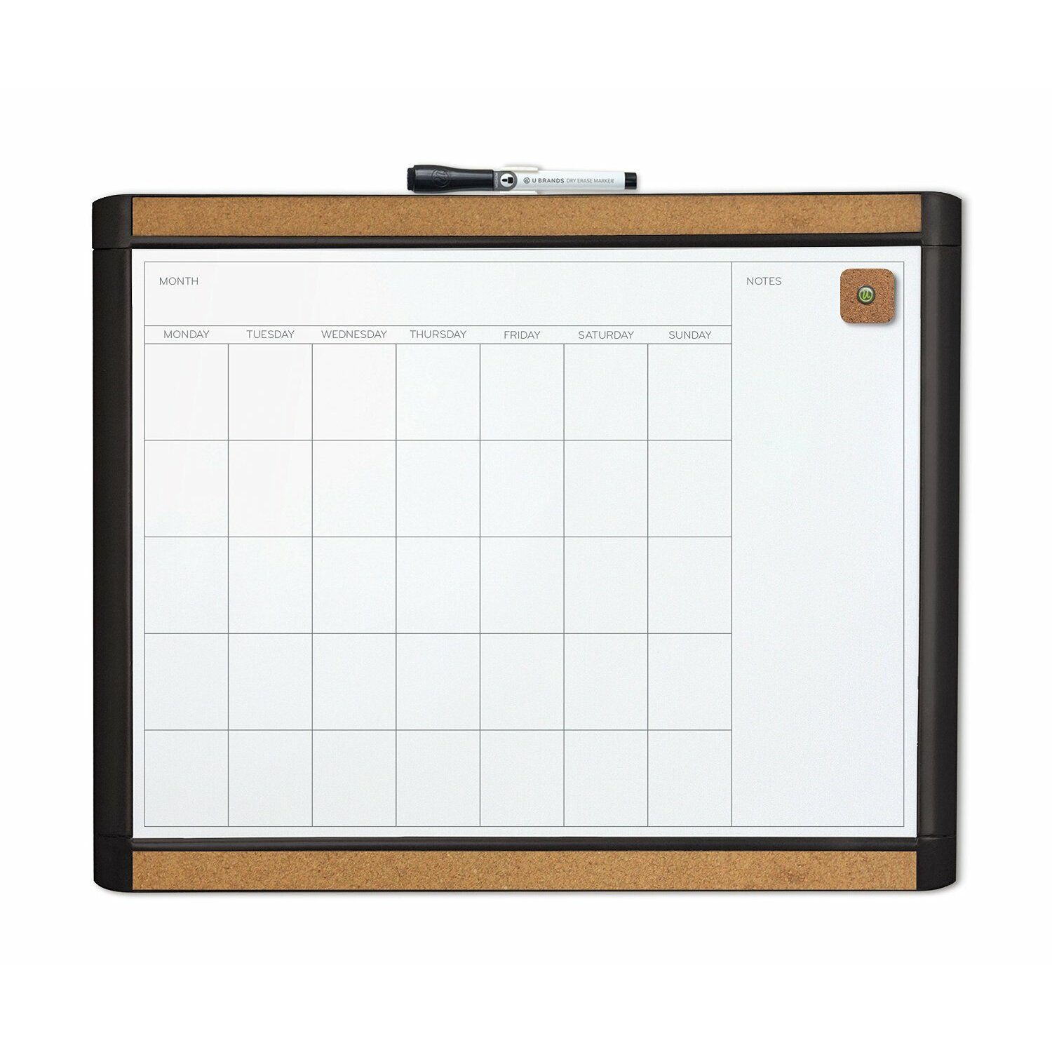 Monthly Calendar Board : U brands llc mod and dry erase monthly magnetic