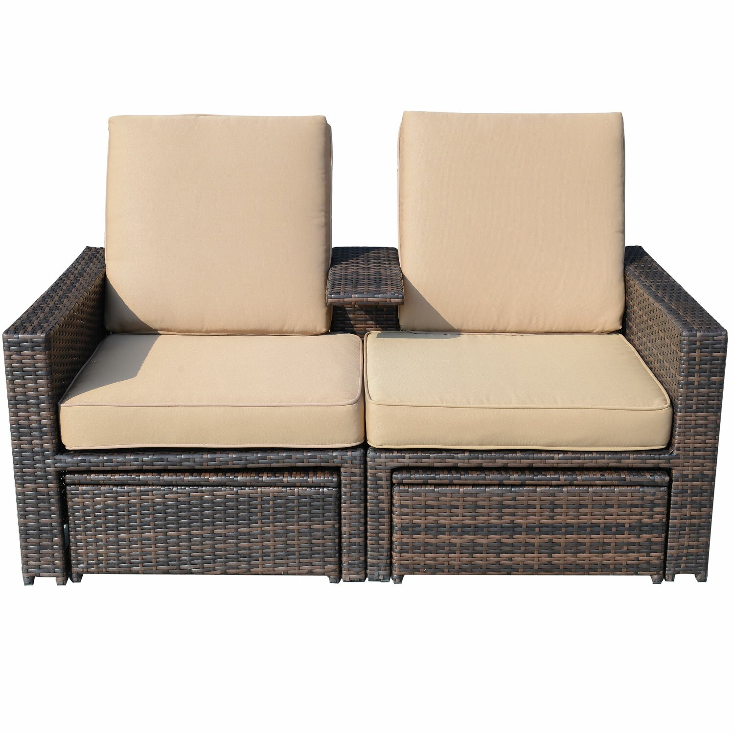 Outsunny 4 piece double chaise lounge with cushion for Chaise double lounge