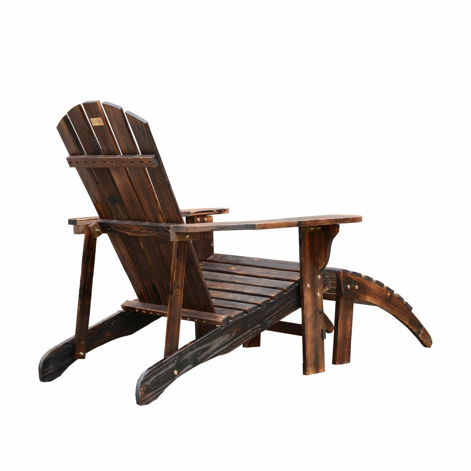 Outsunny Adirondack Chair with Ottoman & Reviews | Wayfair