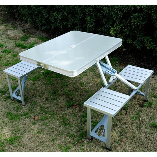 Outsunny picnic table reviews wayfair for Table camping valise